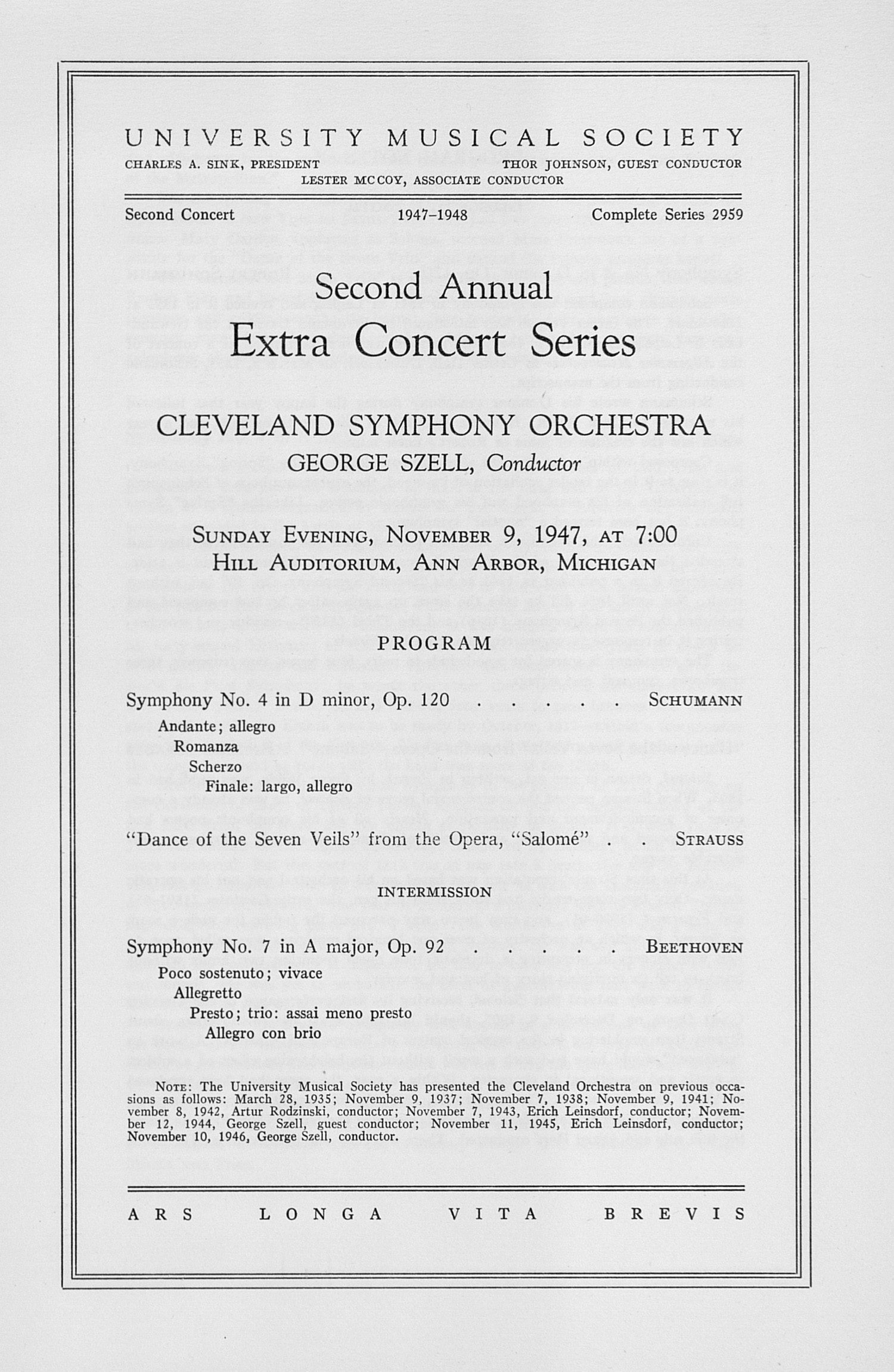 UMS Concert Program, November 9, 1947: Second Annual Extra Concert Series -- Cleveland Symphony Orchestra image