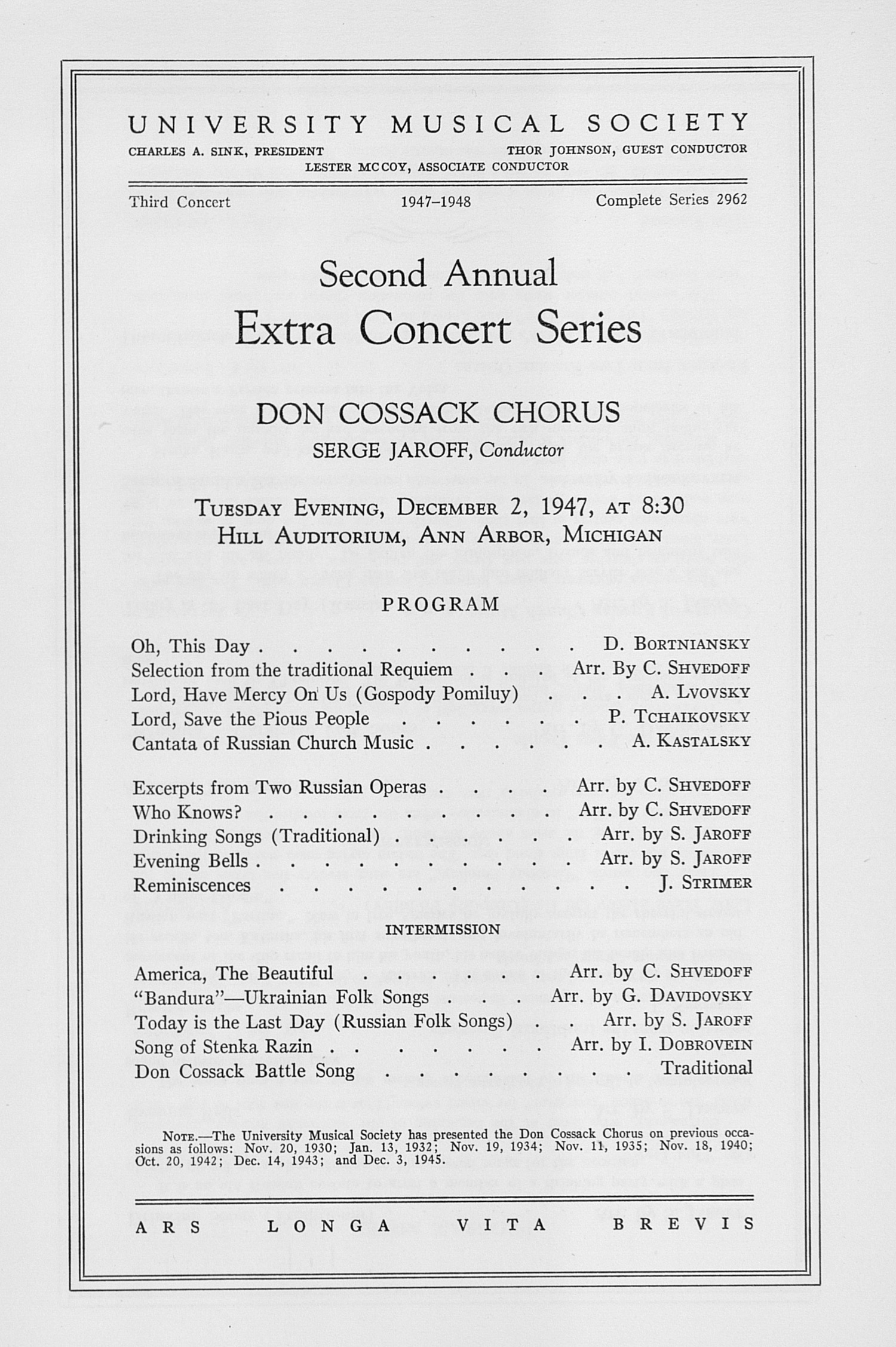 UMS Concert Program, December 2, 1947: Second Annual Extra Concert Series -- Don Cossack Chorus image