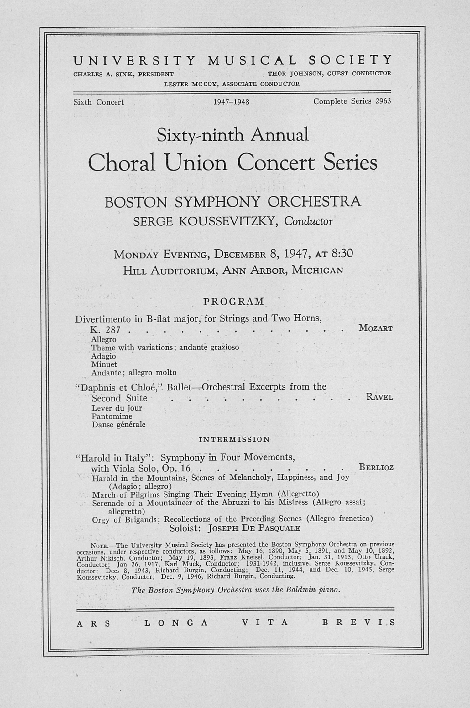 UMS Concert Program, December 8, 1947: Sixty-ninth Annual Choral Union Concert Series -- Boston Symphony Orchestra image