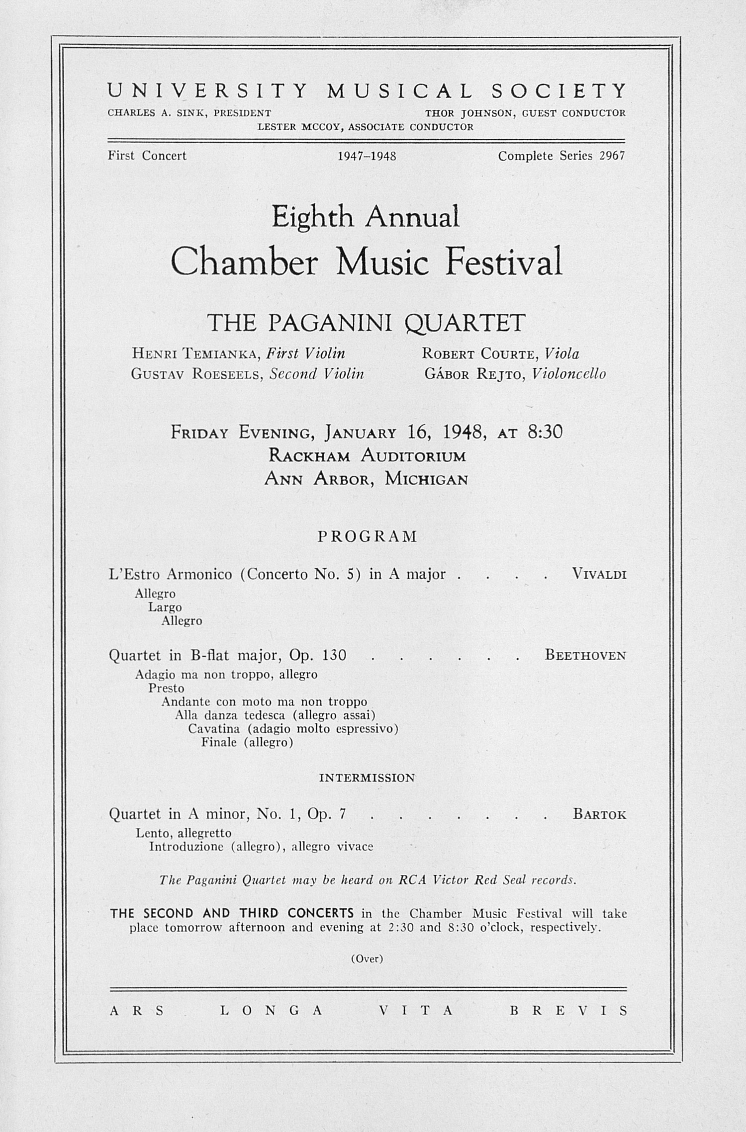 UMS Concert Program, January 16, 1948: Eighth Annual Chamber Music Festival -- The Paganini Quartet image