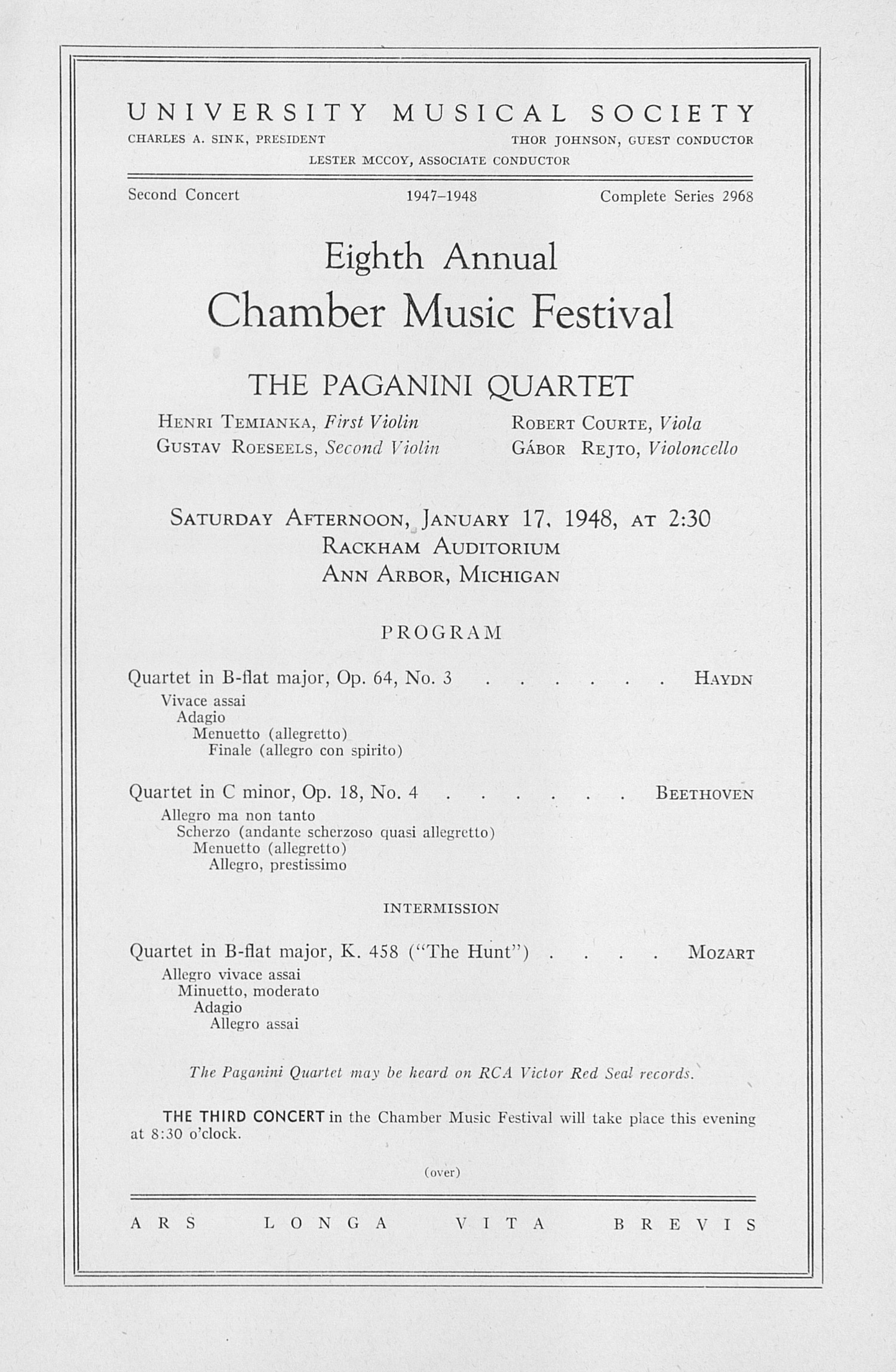 UMS Concert Program, January 17, 1948: Eighth Annual Chamber Music Festival -- The Paganini Quartet image