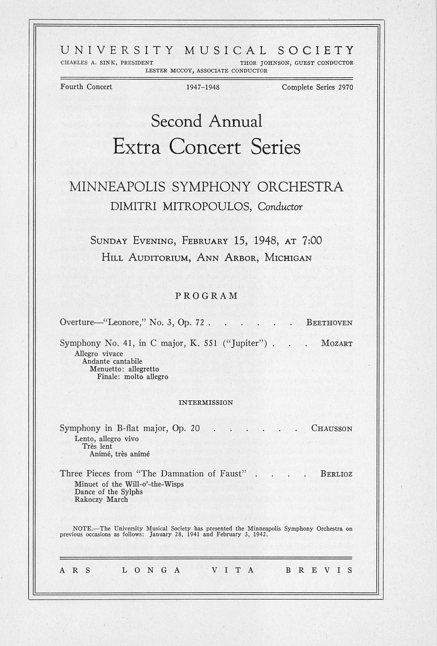 UMS Concert Program, February 15, 1948: Second Annual Extra Concert Series -- Minneapolis Symphony Orchestra image