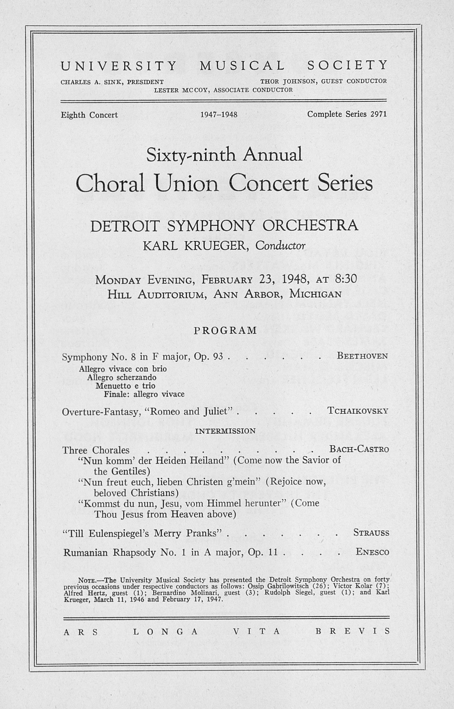 UMS Concert Program, February 23, 1948: Sixty-ninth Annual Choral Union Concert Series -- Detroit Symphony Orchestra image