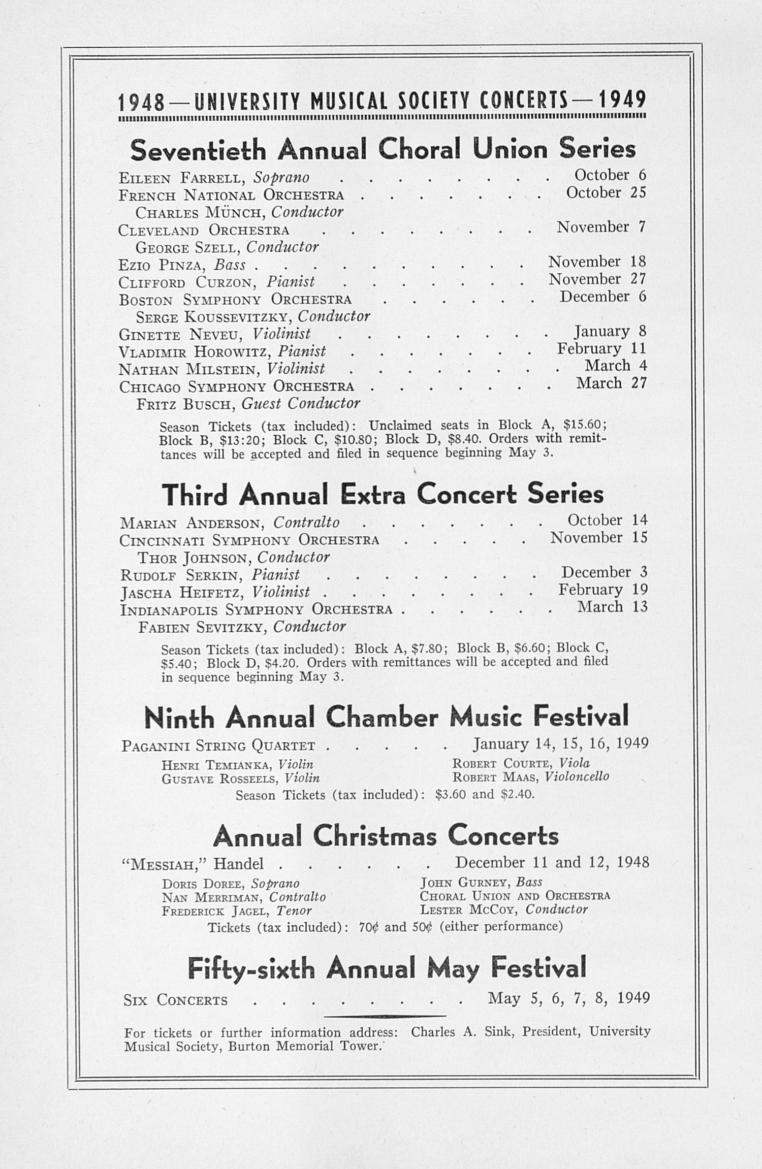 UMS Concert Program, April 29, 1948: Fifty-fifth Annual May Festival -- The Philadelphia Orchestra image