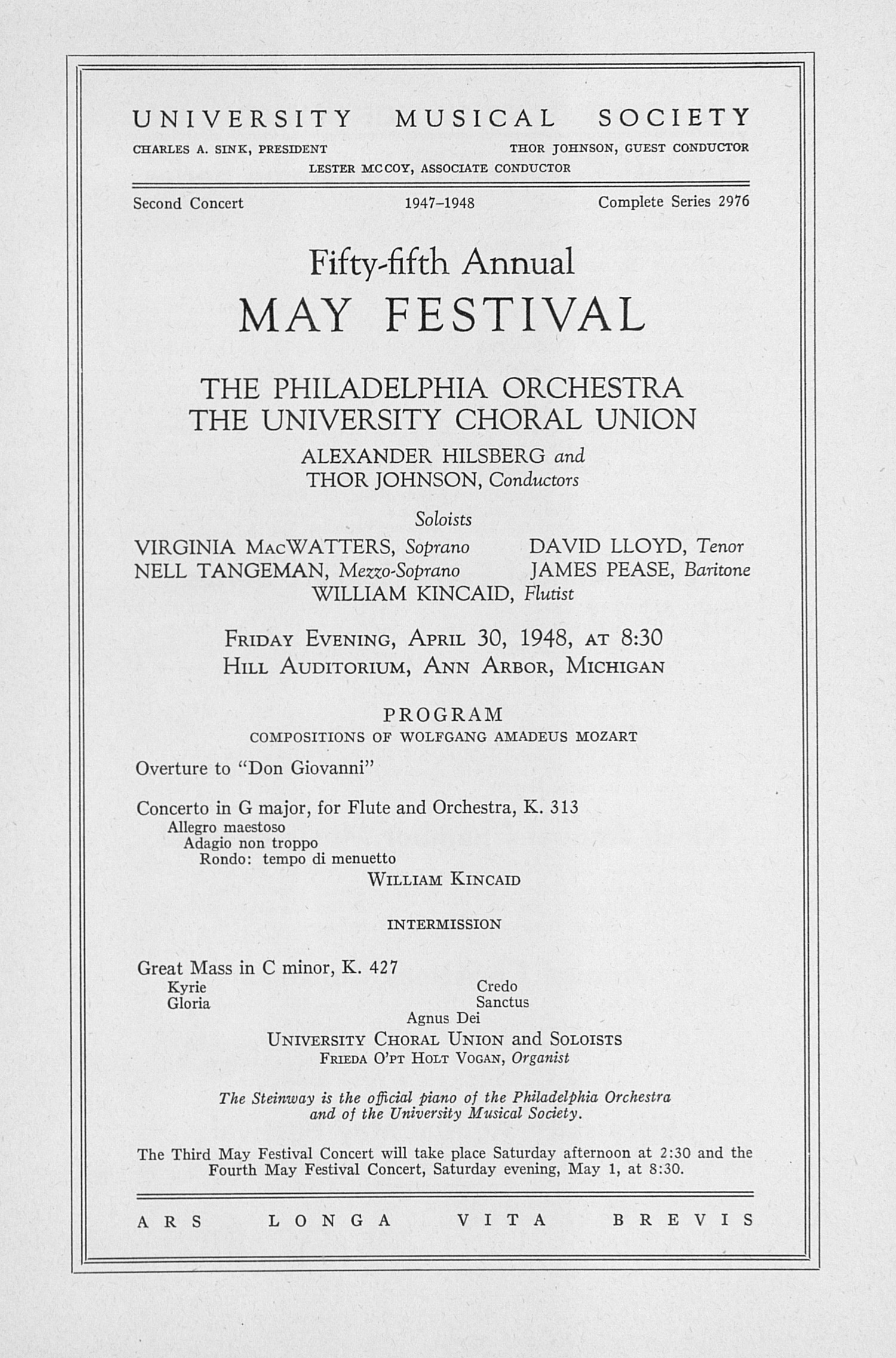 UMS Concert Program, April 30, 1948: Fifty-fifth Annual May Festival -- The Philadelphia Orchestra image