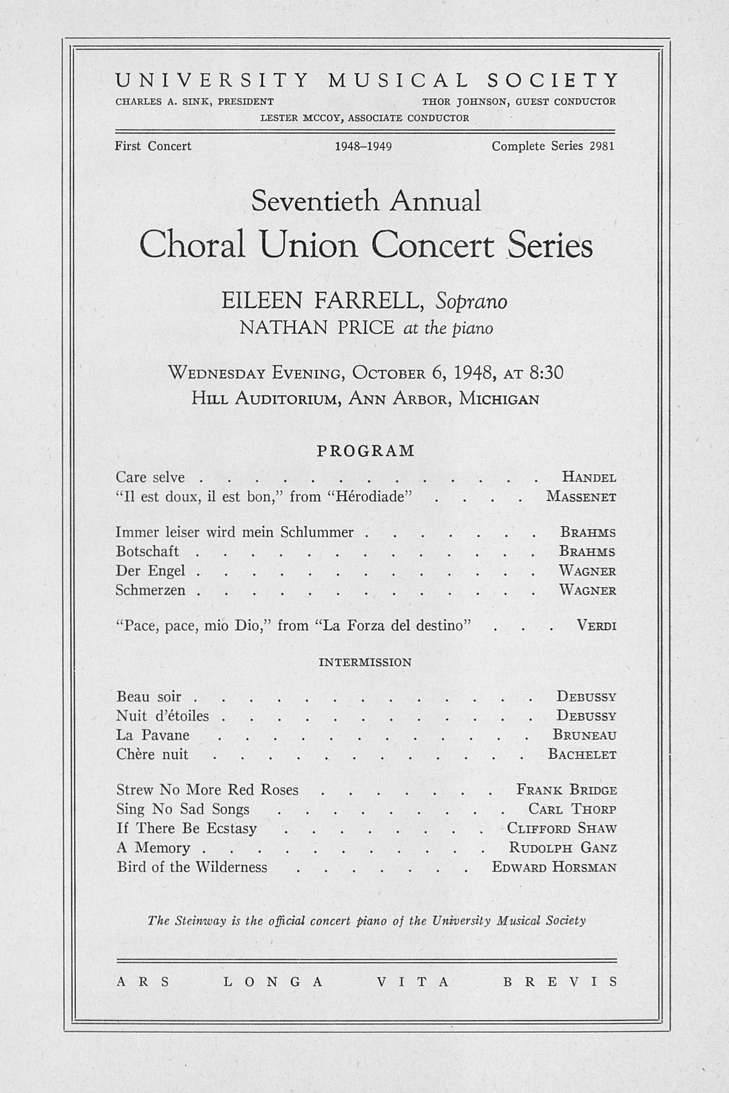 UMS Concert Program, October 6, 1948: Seventieth Annual Choral Union Concert Series -- Eileen Farrell image