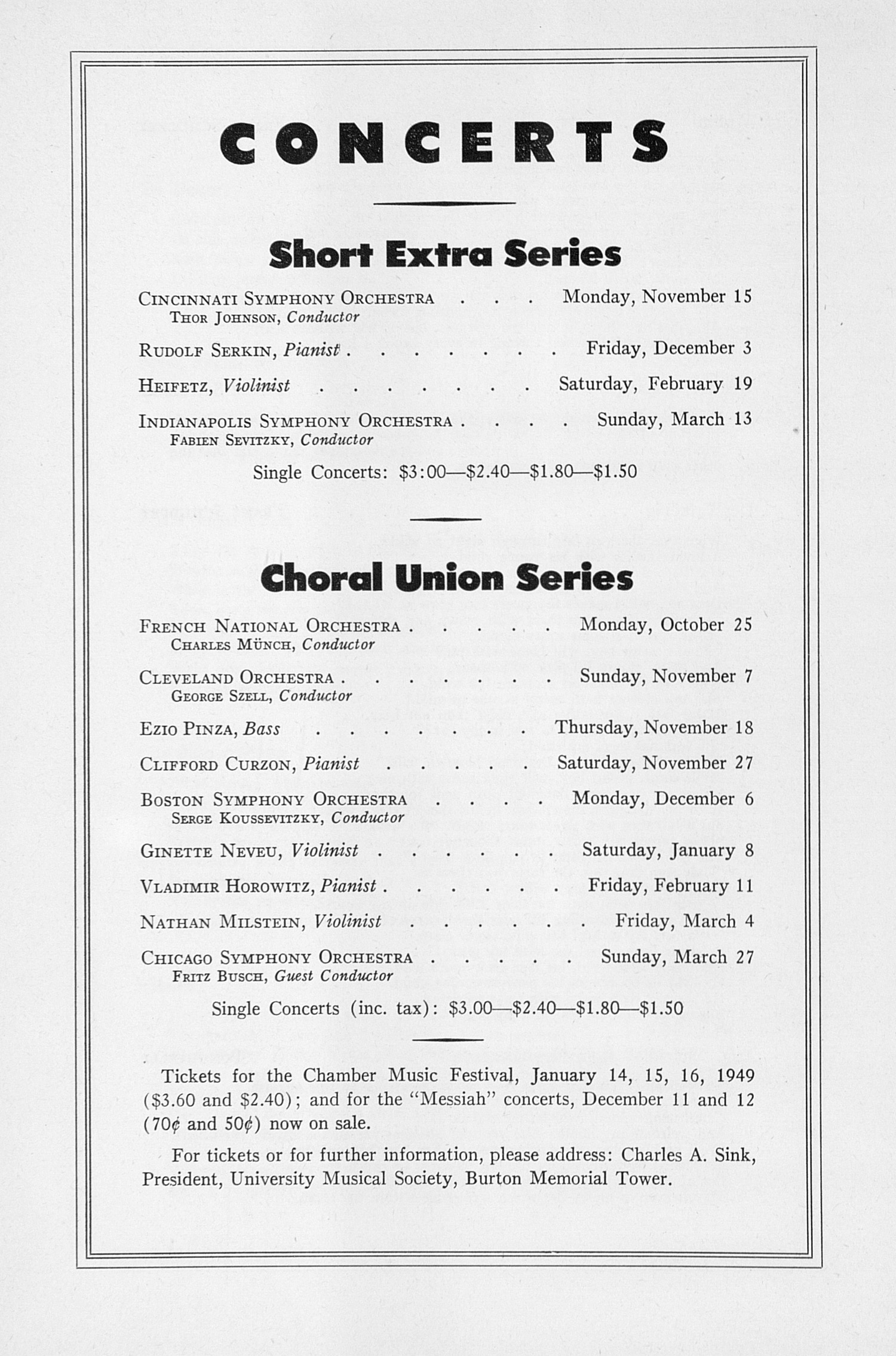 UMS Concert Program, October 14, 1948: Third Annual Extra Concert Series -- Marian Anderson image