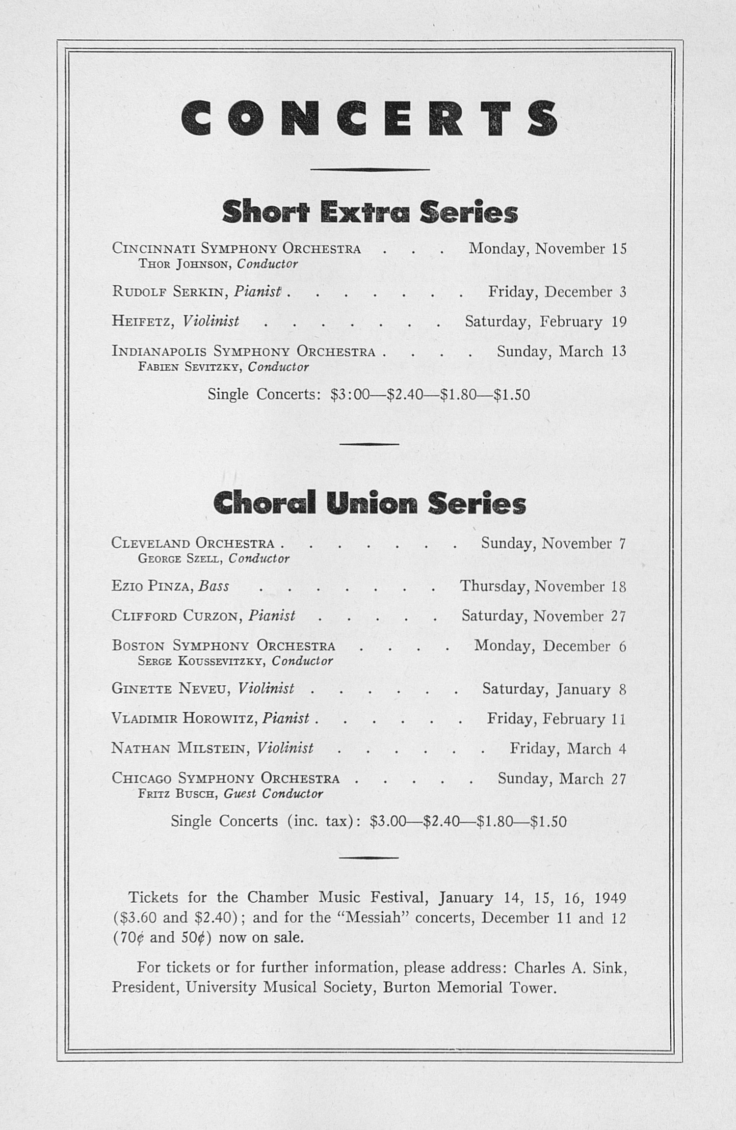 UMS Concert Program, October 25, 1948: Seventieth Annual Choral Union Concert Series -- Orchestre National Of France image