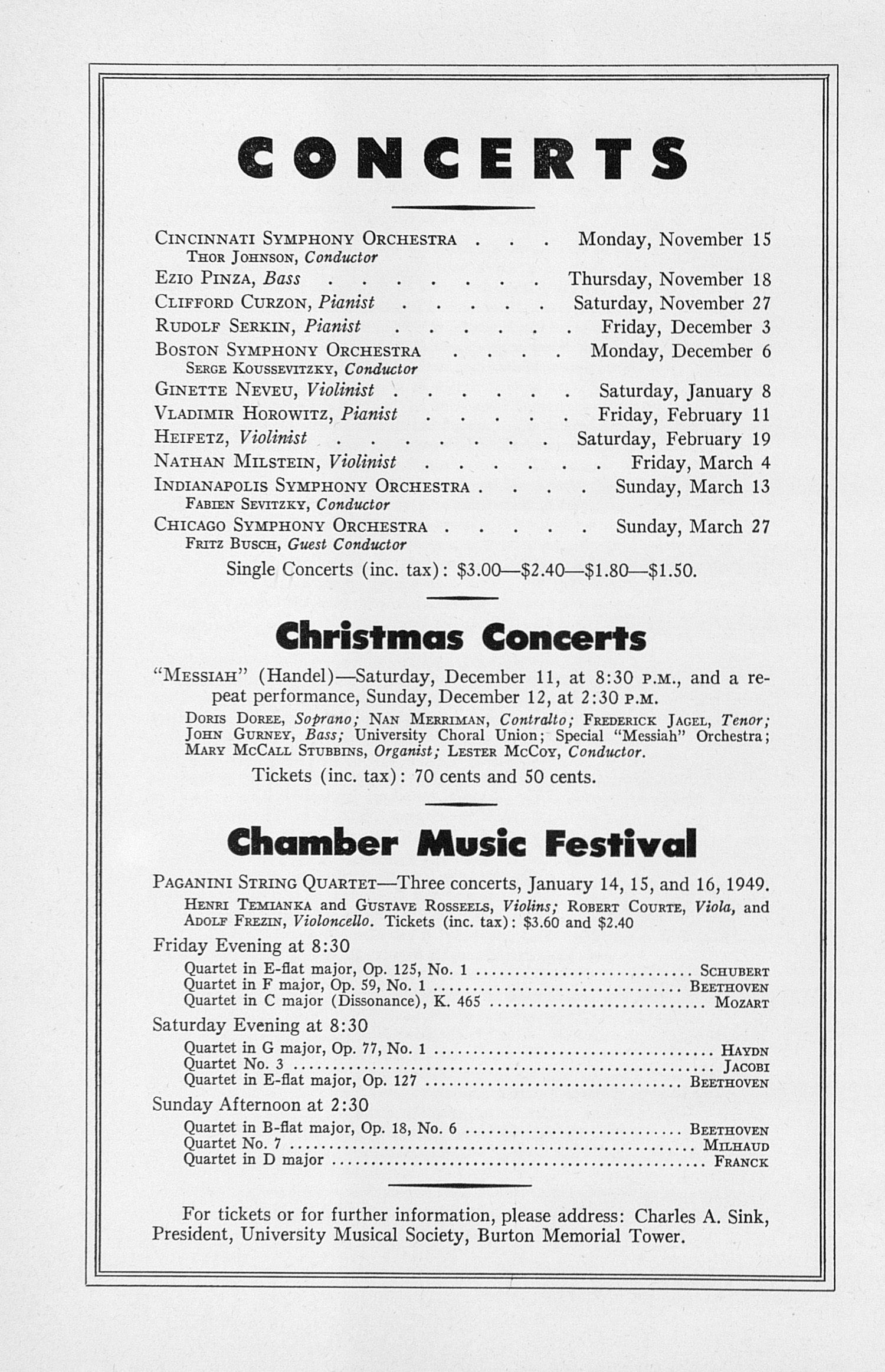 UMS Concert Program, November 7, 1948: Seventieth Annual Choral Union Concert Series -- The Cleveland Orchestra image