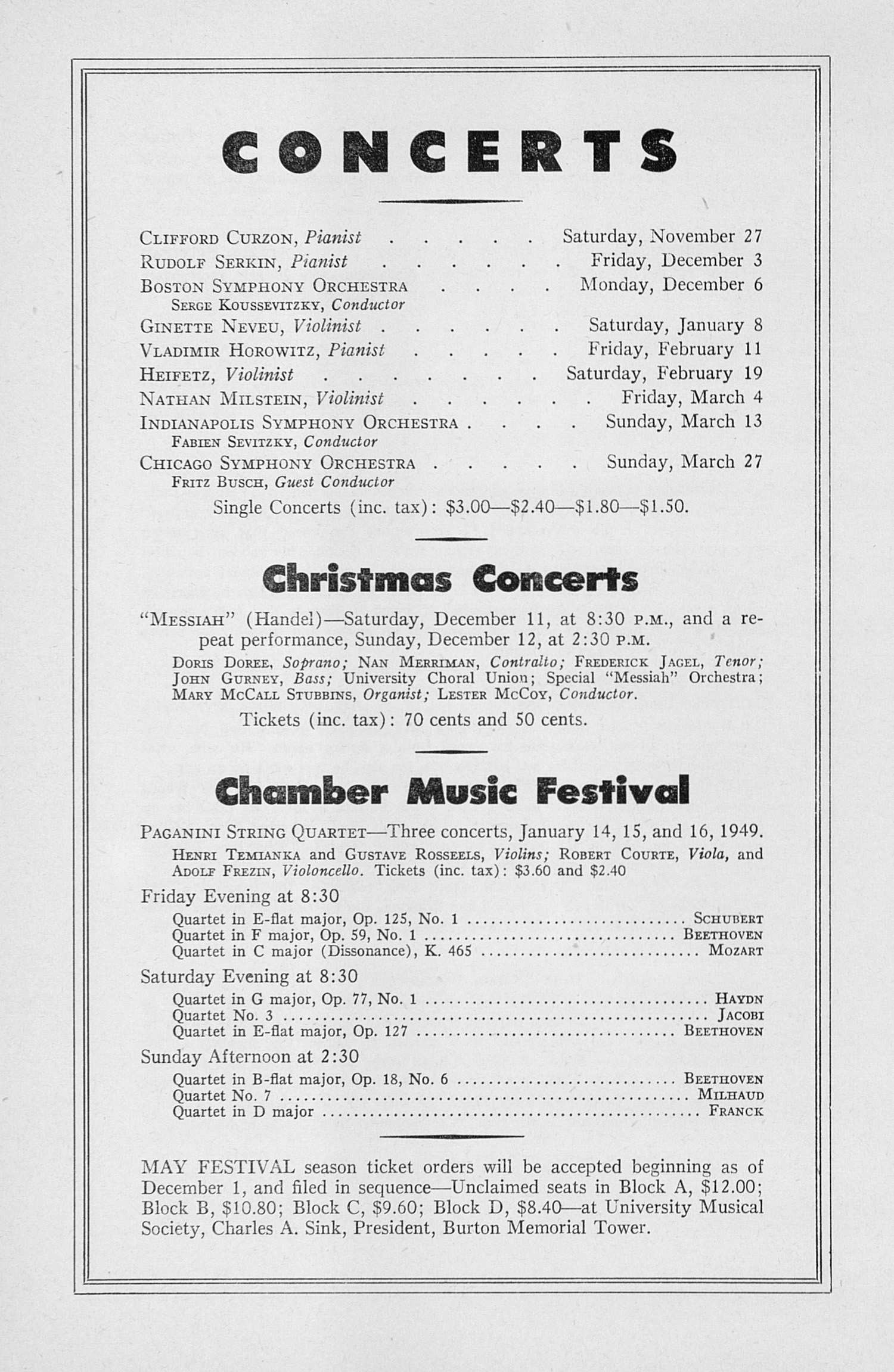 UMS Concert Program, November 18, 1948: Seventieth Annual Choral Union Concert Series -- Ezio Pinza image
