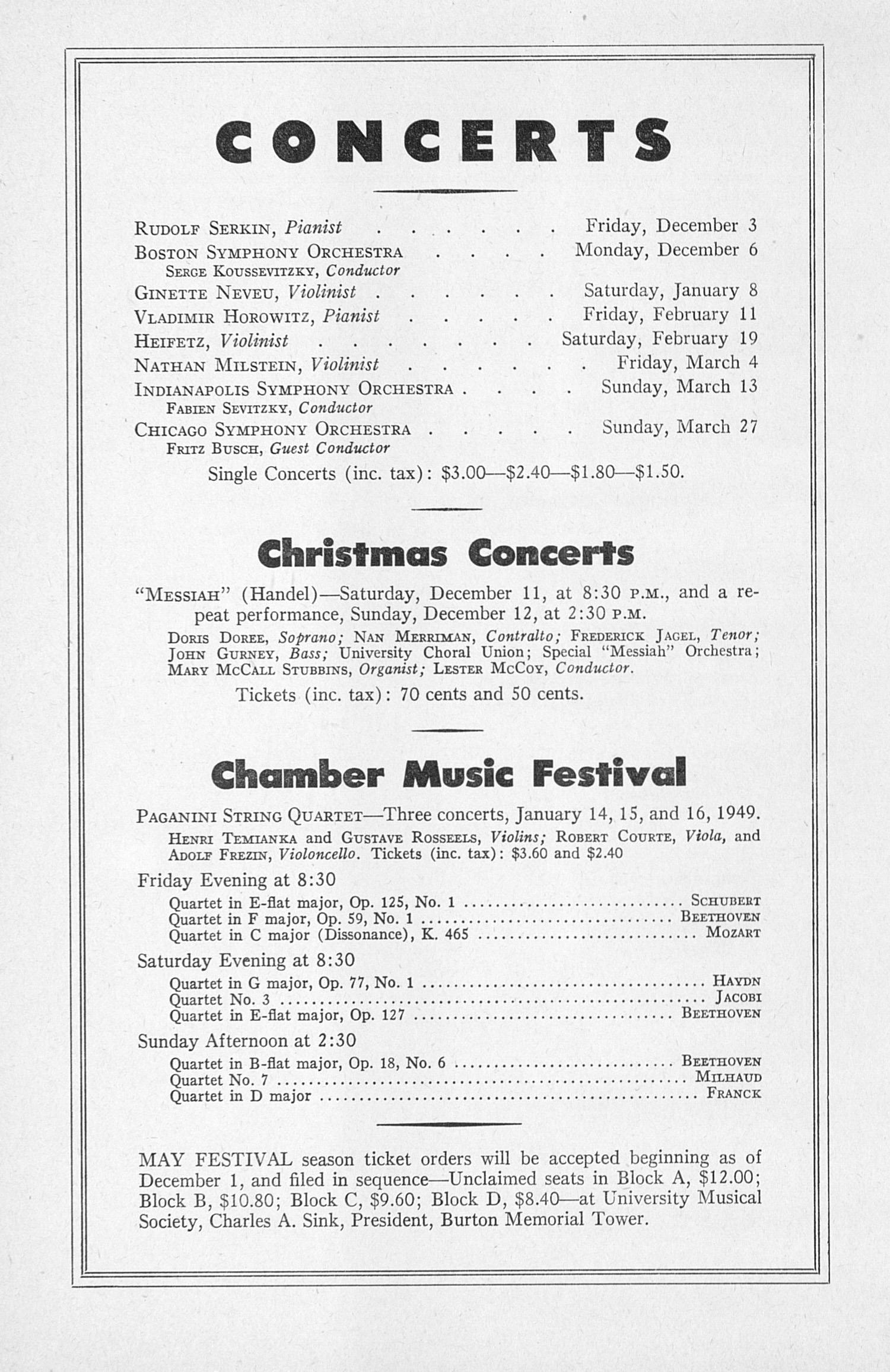 UMS Concert Program, November 27, 1948: Seventieth Annual Choral Union Concert Series -- Clifford Curzon image