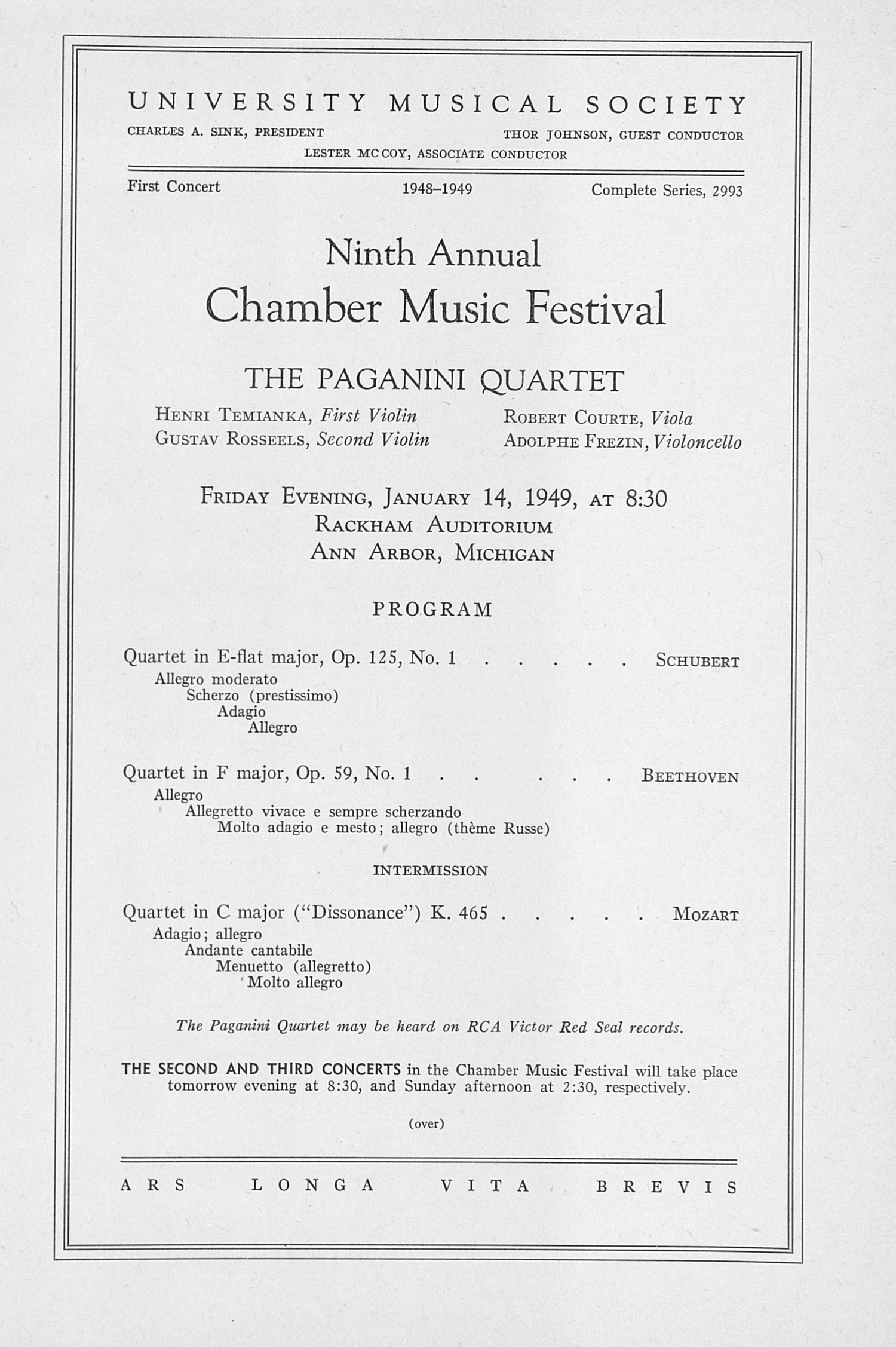 UMS Concert Program, January 14, 1949: Ninth Annual Chamber Music Festival -- The Paganini Quartet image
