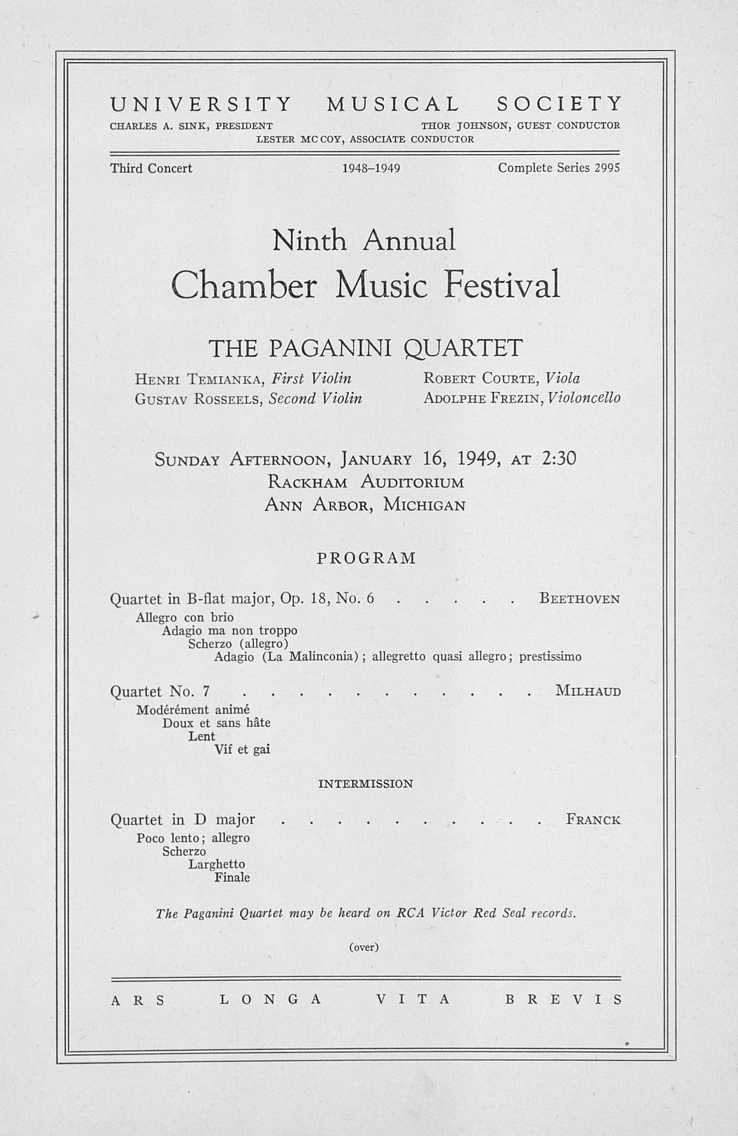 UMS Concert Program, January 16, 1949: Ninth Annual Chamber Music Festival -- The Paganini Quartet image