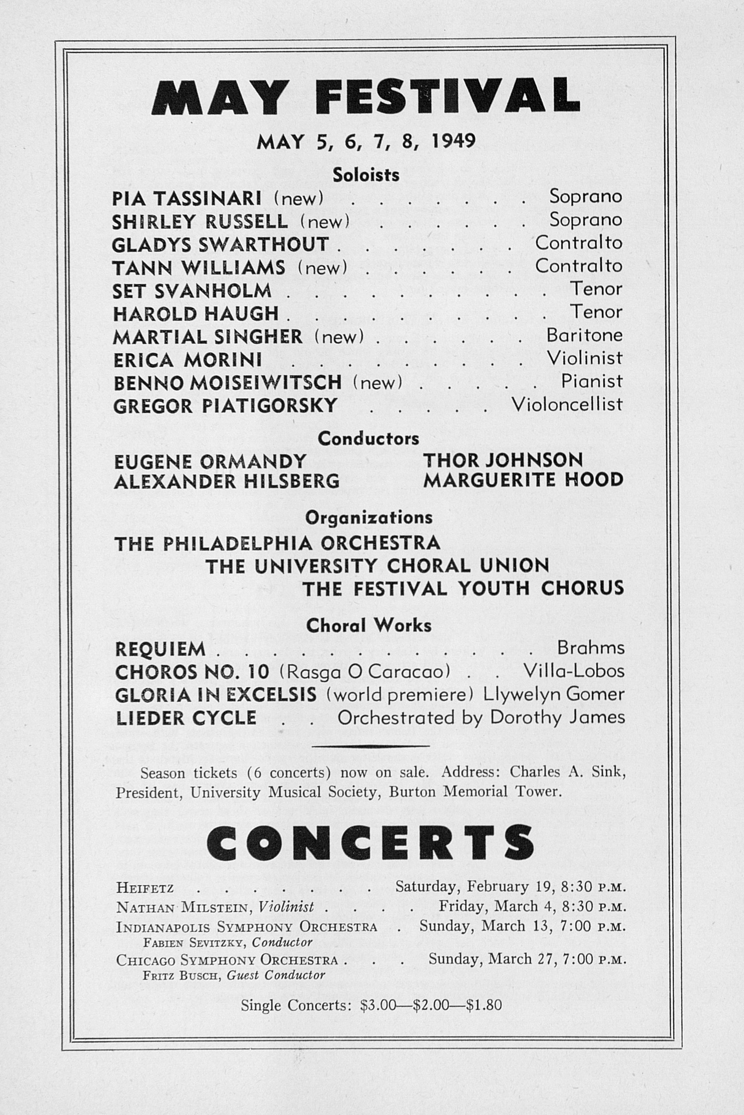 UMS Concert Program, February 11, 1949: Seventieth Annual Choral Union Concert Series -- Vladimir Horowitz image