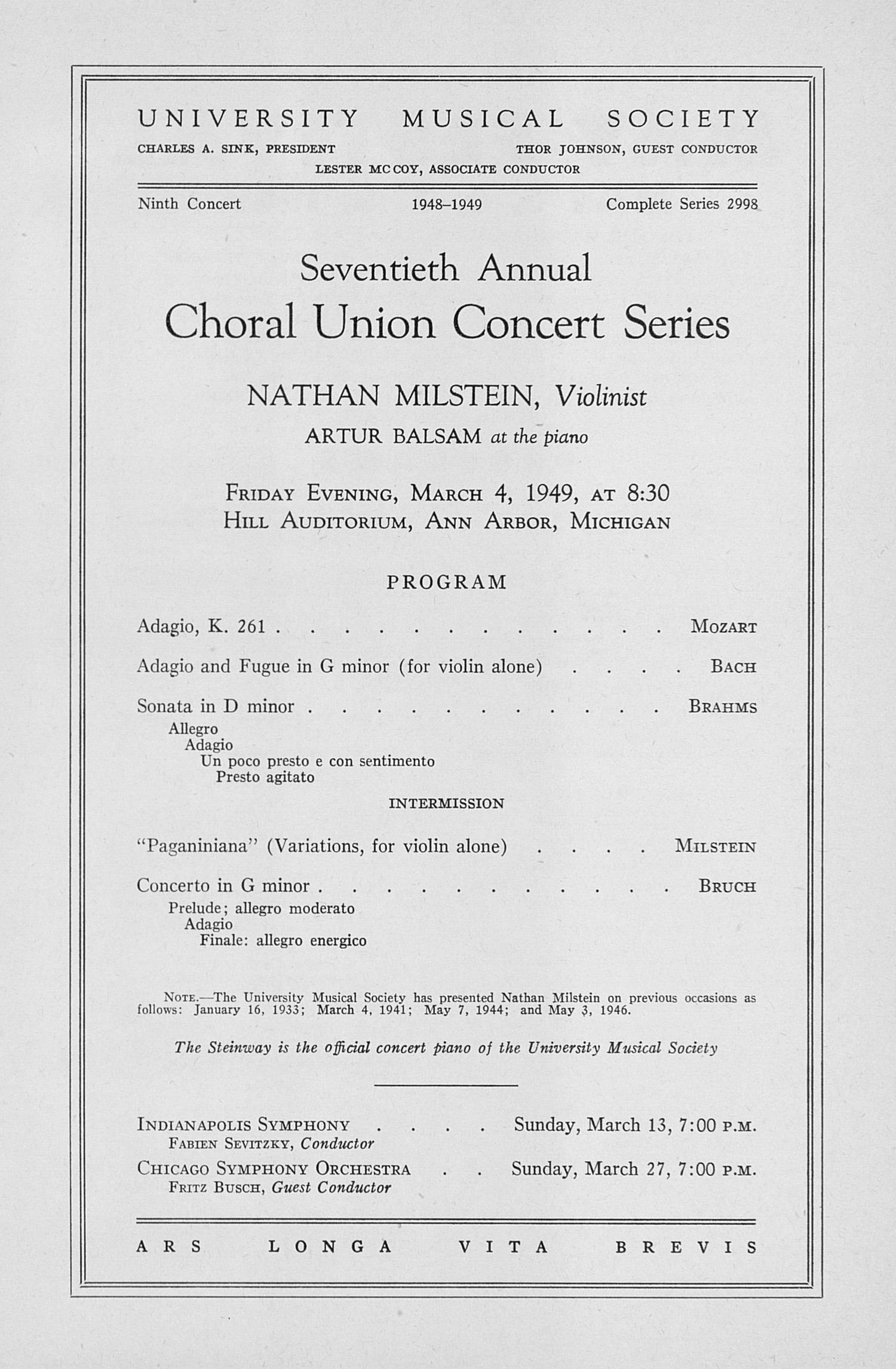 UMS Concert Program, March 4, 1949: Seventieth Annual Choral Union Concert Series -- Nathan Milstein image
