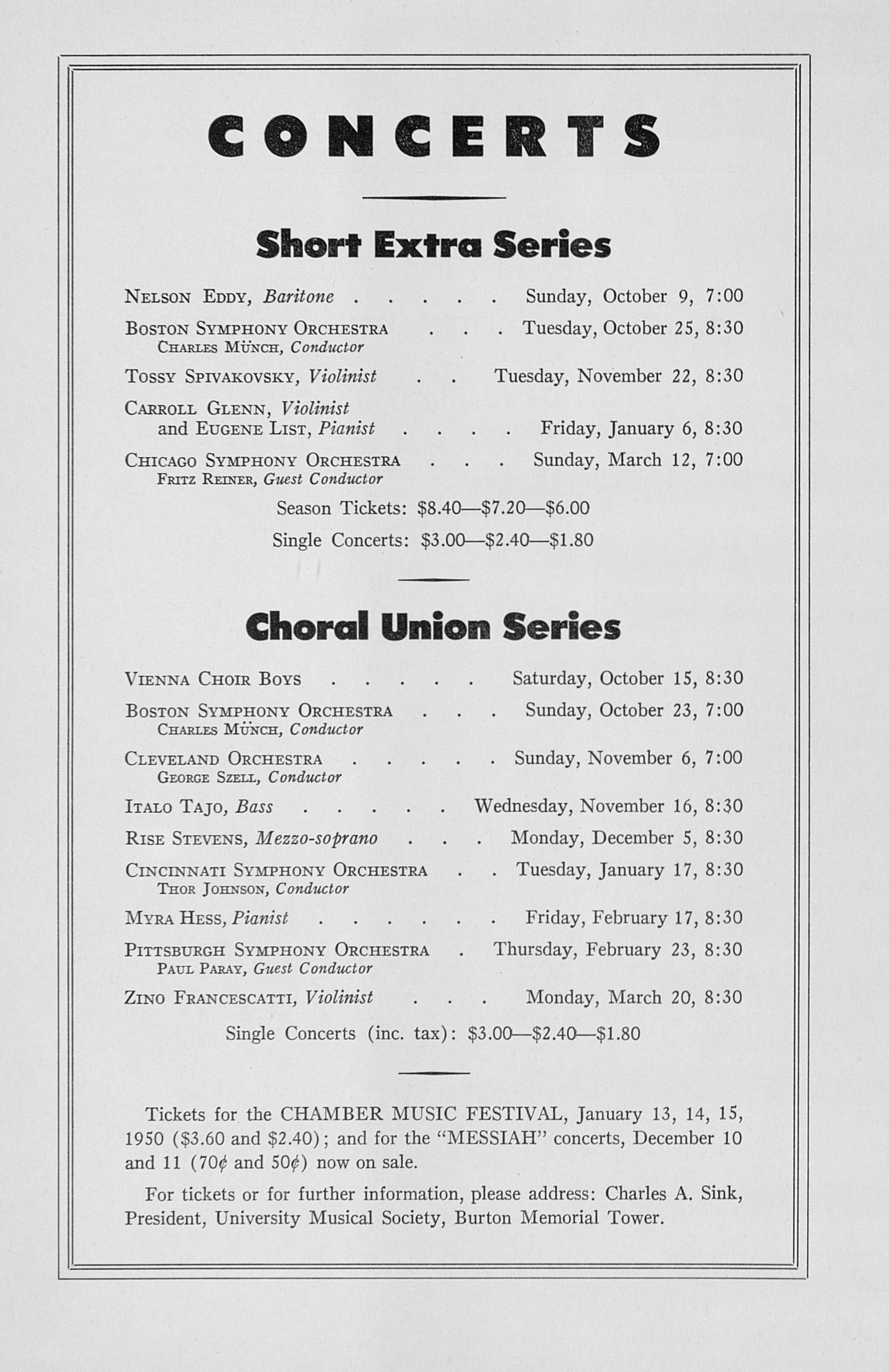UMS Concert Program, October 4, 1949: Seventy-first Annual Choral Union Concert Series -- Artur Rubinstein image