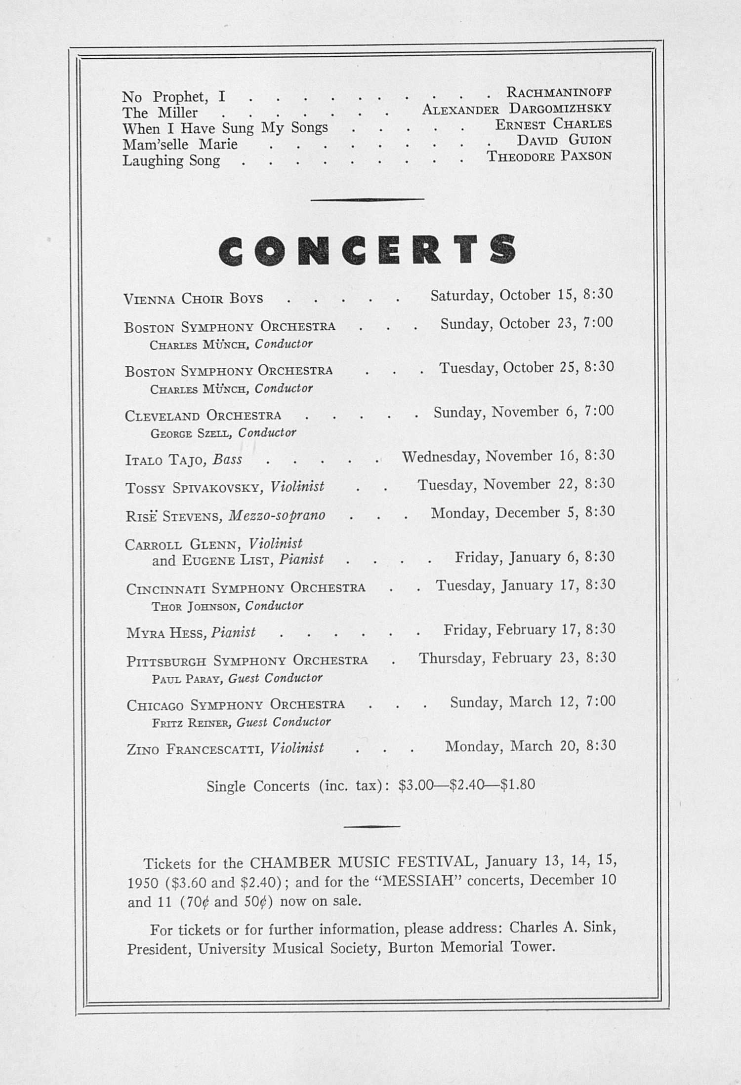 UMS Concert Program, October 9, 1949: Fourth Annual Extra Concert Series -- Nelson Eddy image