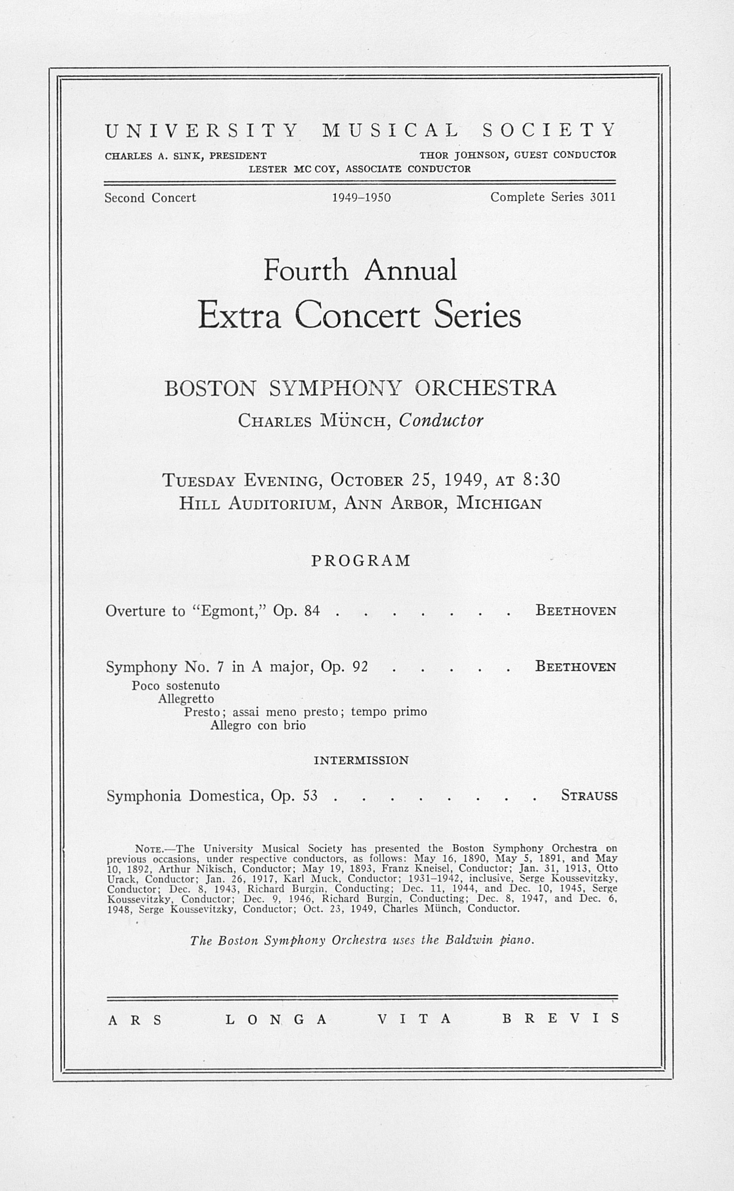 UMS Concert Program, October 25, 1949: Fourth Annual Extra Concert Series -- Boston Symphony Orchestra image