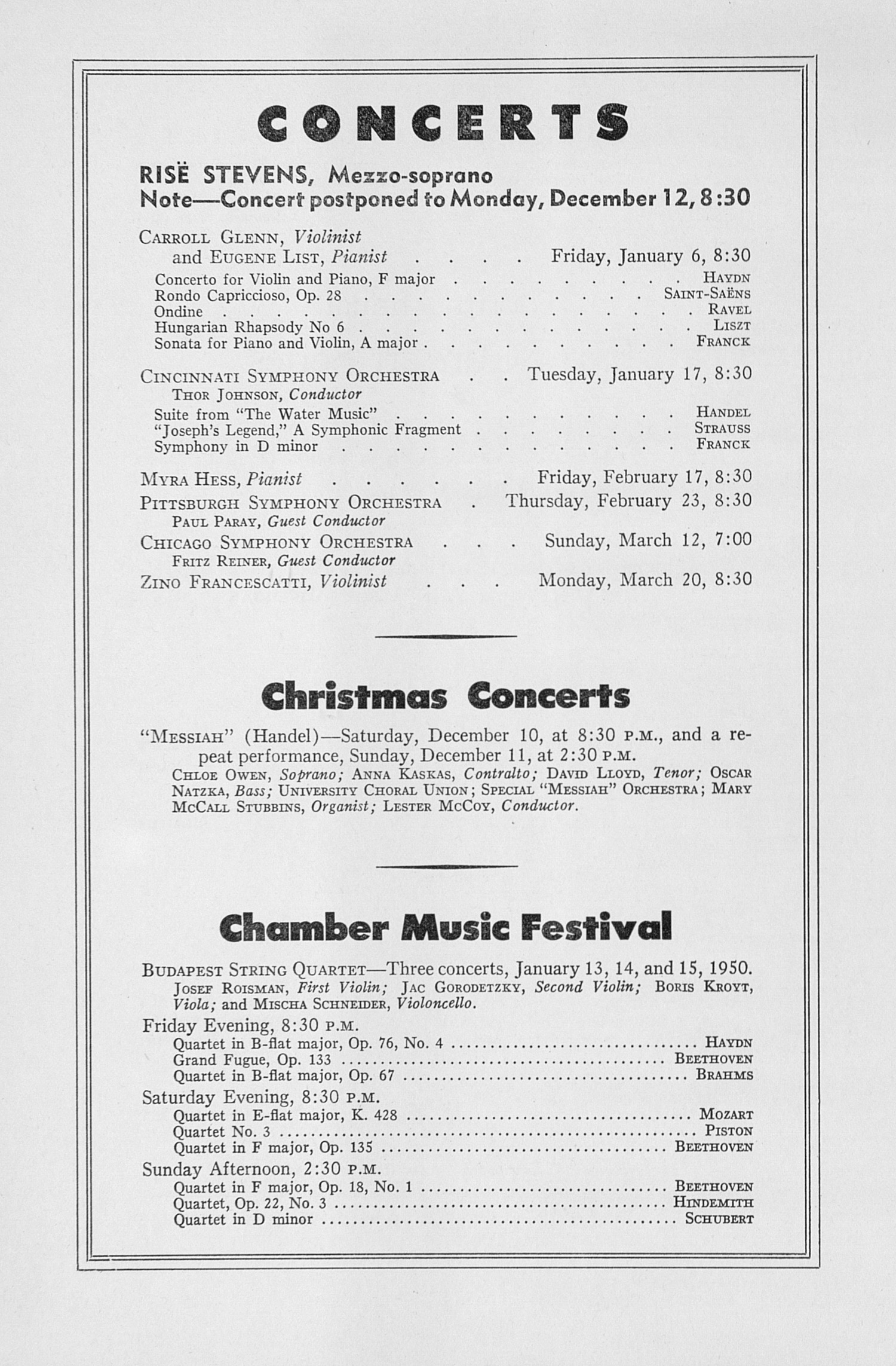 UMS Concert Program, November 22, 1949: Fourth Annual Extra Concert Series -- Tossy Spivakovsky image