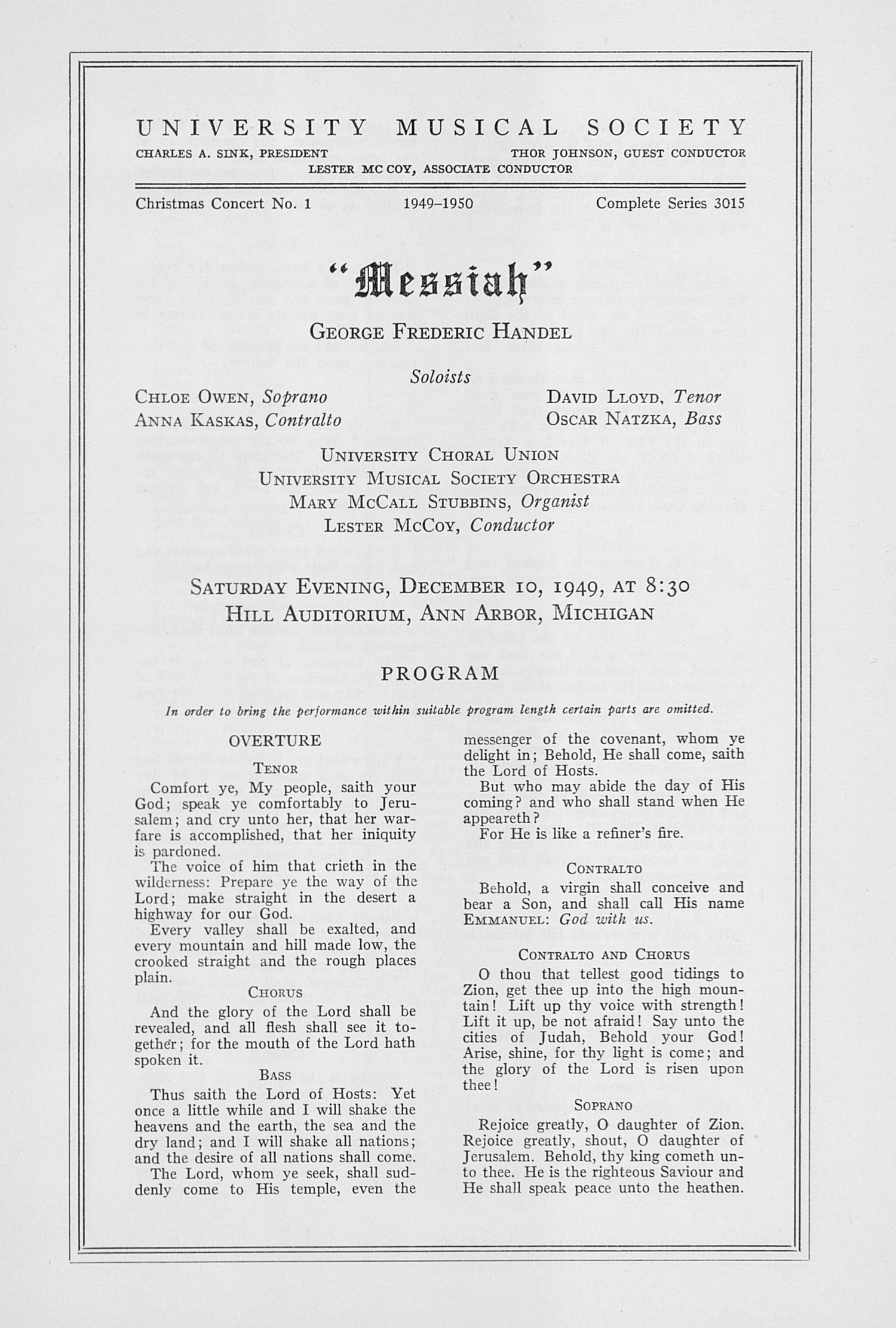 "UMS Concert Program, December 10, 1949: ""messiah"" -- George Frederic Handel image"