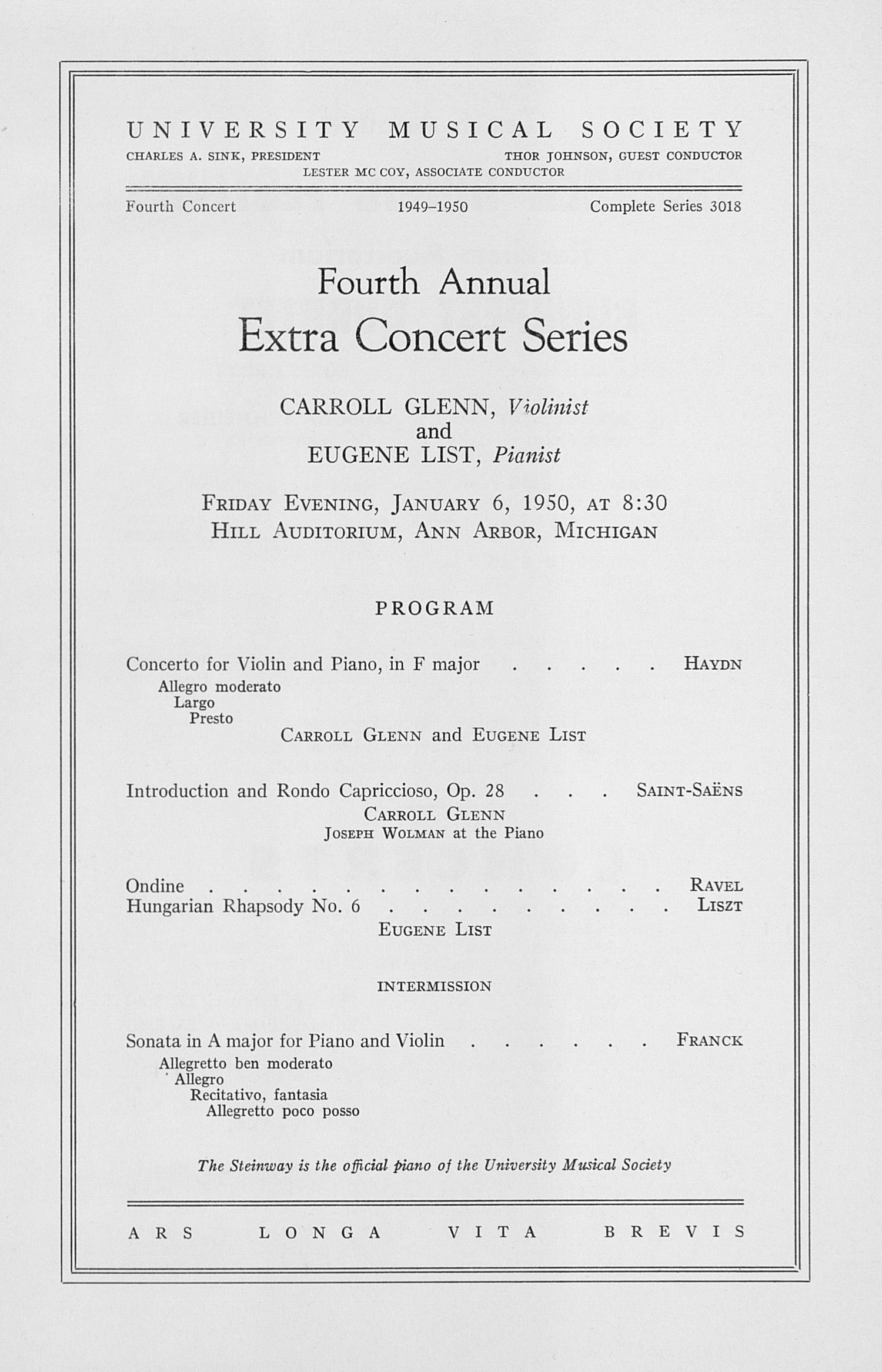 UMS Concert Program, January 6, 1950: Fourth Annual Extra Concert Series -- Carroll Glenn image