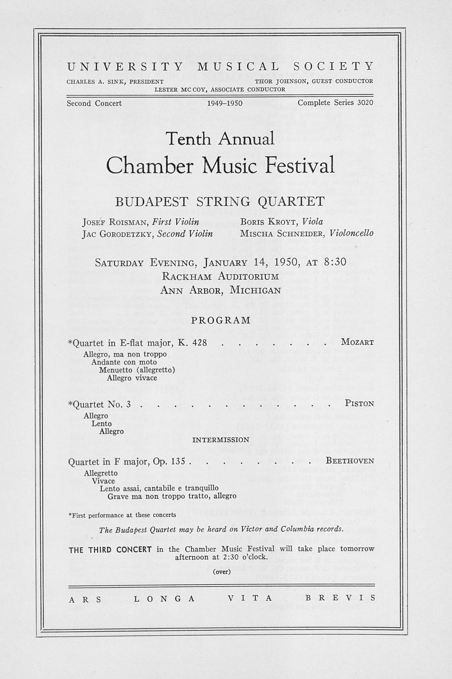 UMS Concert Program, January 14, 1950: Tenth Annual Chamber Music Festival -- Budapest String Quartet image
