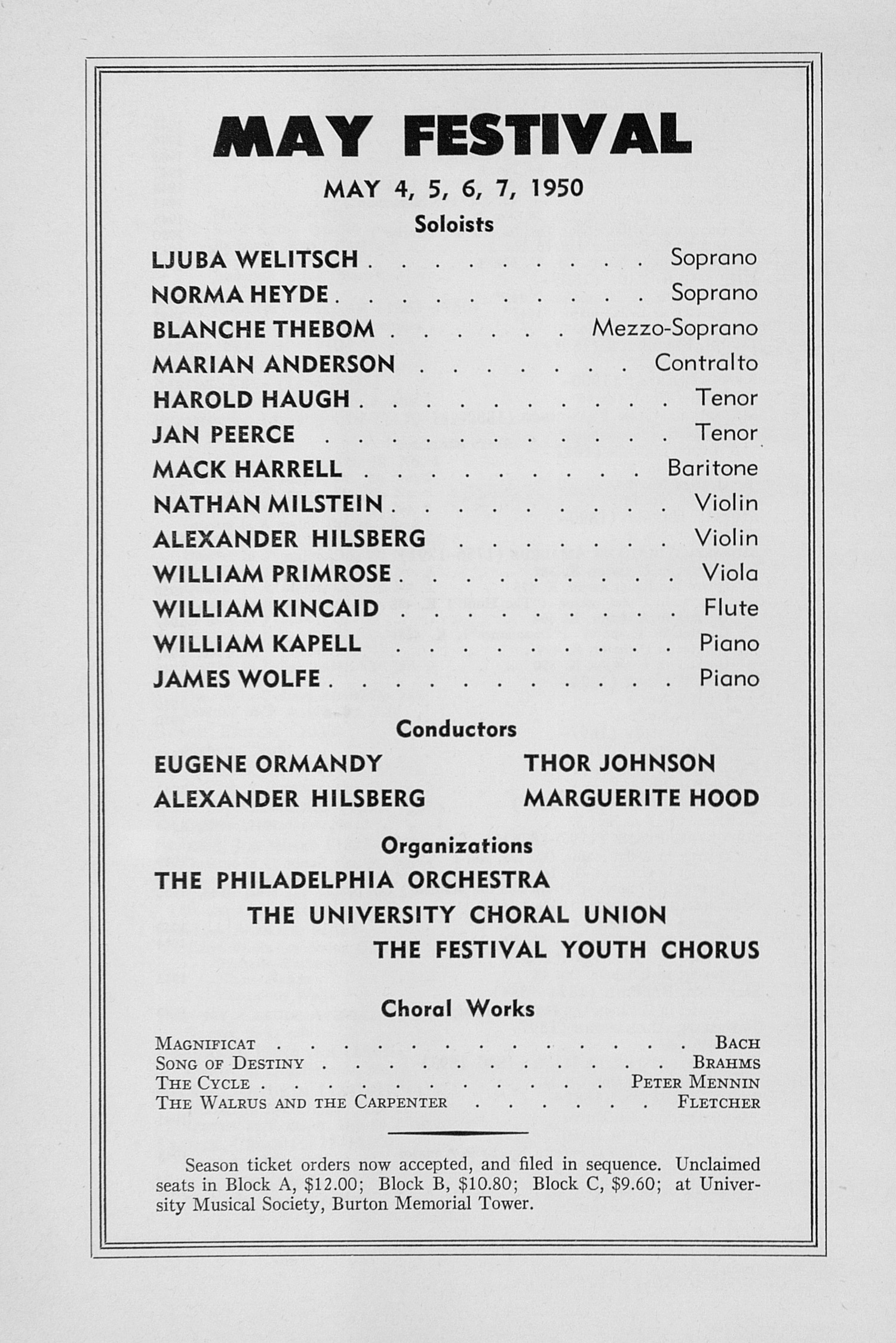 UMS Concert Program, January 15, 1950: Tenth Annual Chamber Music Festival -- Budapest String Quartet image