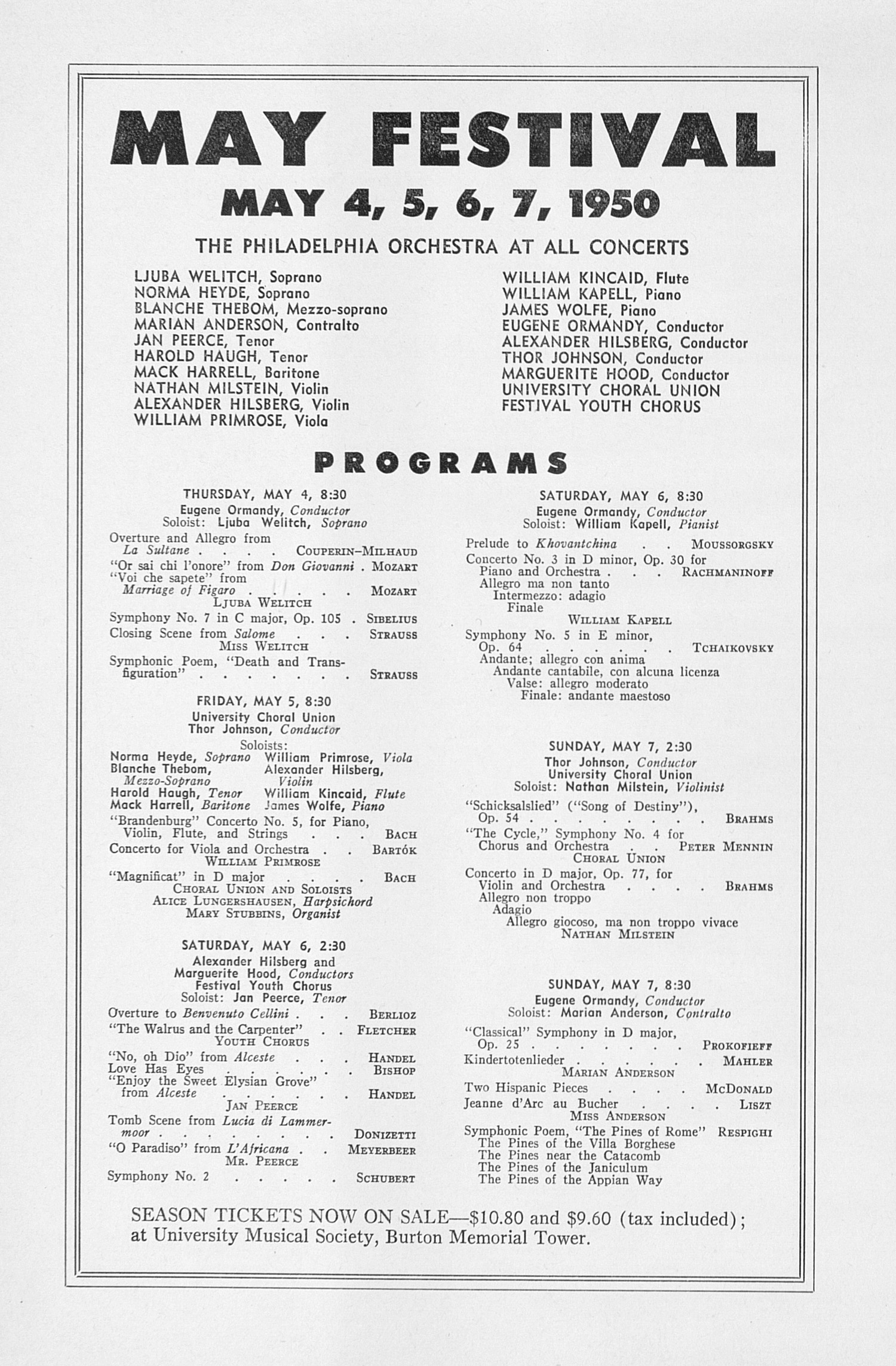 UMS Concert Program, March 20, 1950: Seventy-first Annual Choral Union Concert Series -- Zino Francescatti image