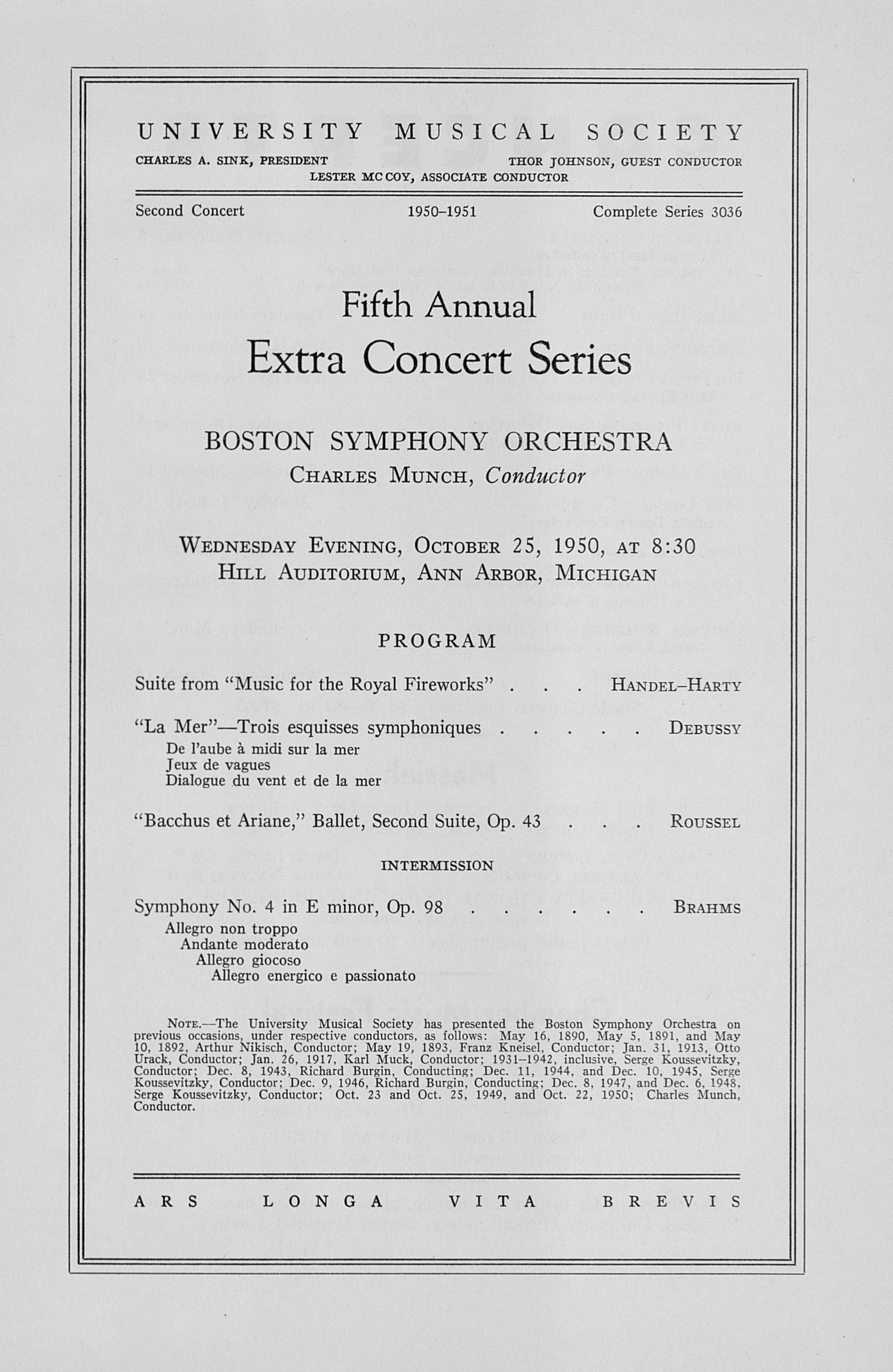 UMS Concert Program, October 25, 1950: Fifth Annual Extra Concert Series -- Boston Symphony Orchestra image