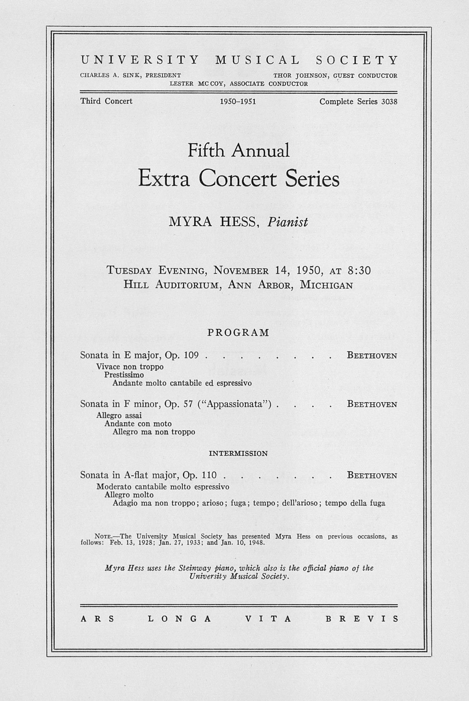 UMS Concert Program, November 14, 1950: Fifth Annual Extra Concert Series -- Myra Hess image