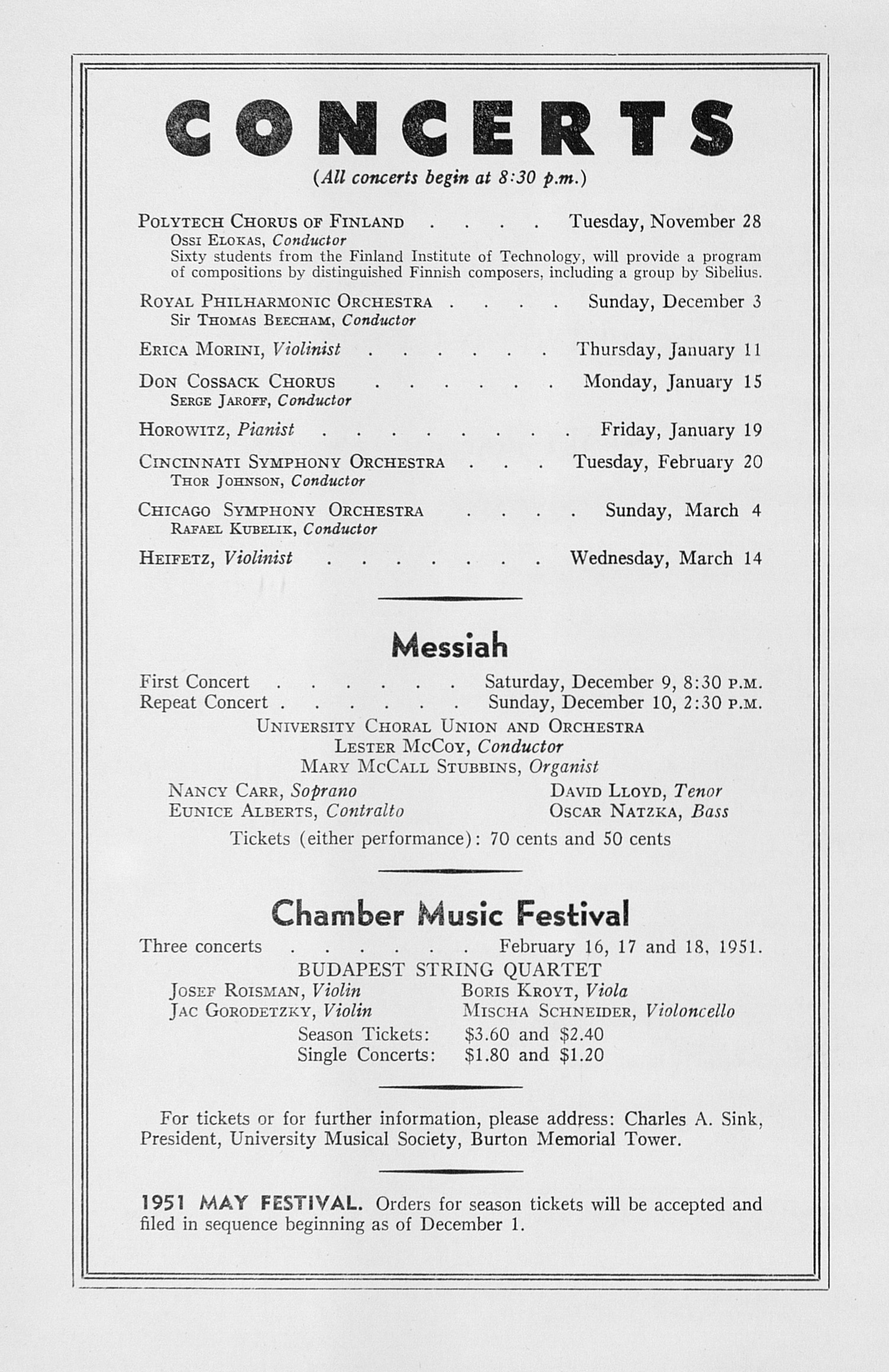UMS Concert Program, November 20, 1950: Seventy-second Annual Choral Union Concert Series -- Solomon image