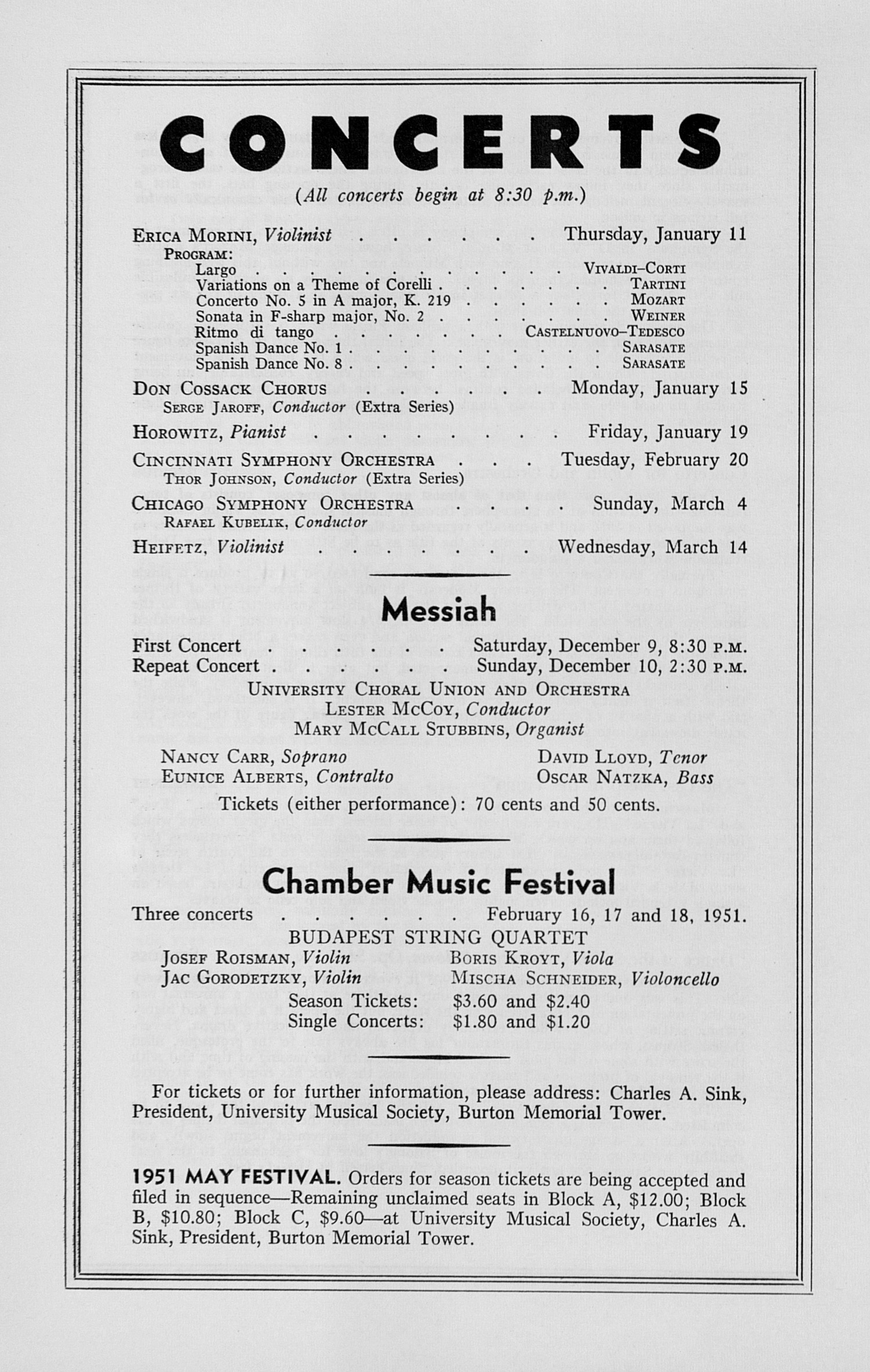 UMS Concert Program, December 3, 1950: Seventy-second Annual Choral Union Concert Series -- Royal Philharmonic Orchestra image