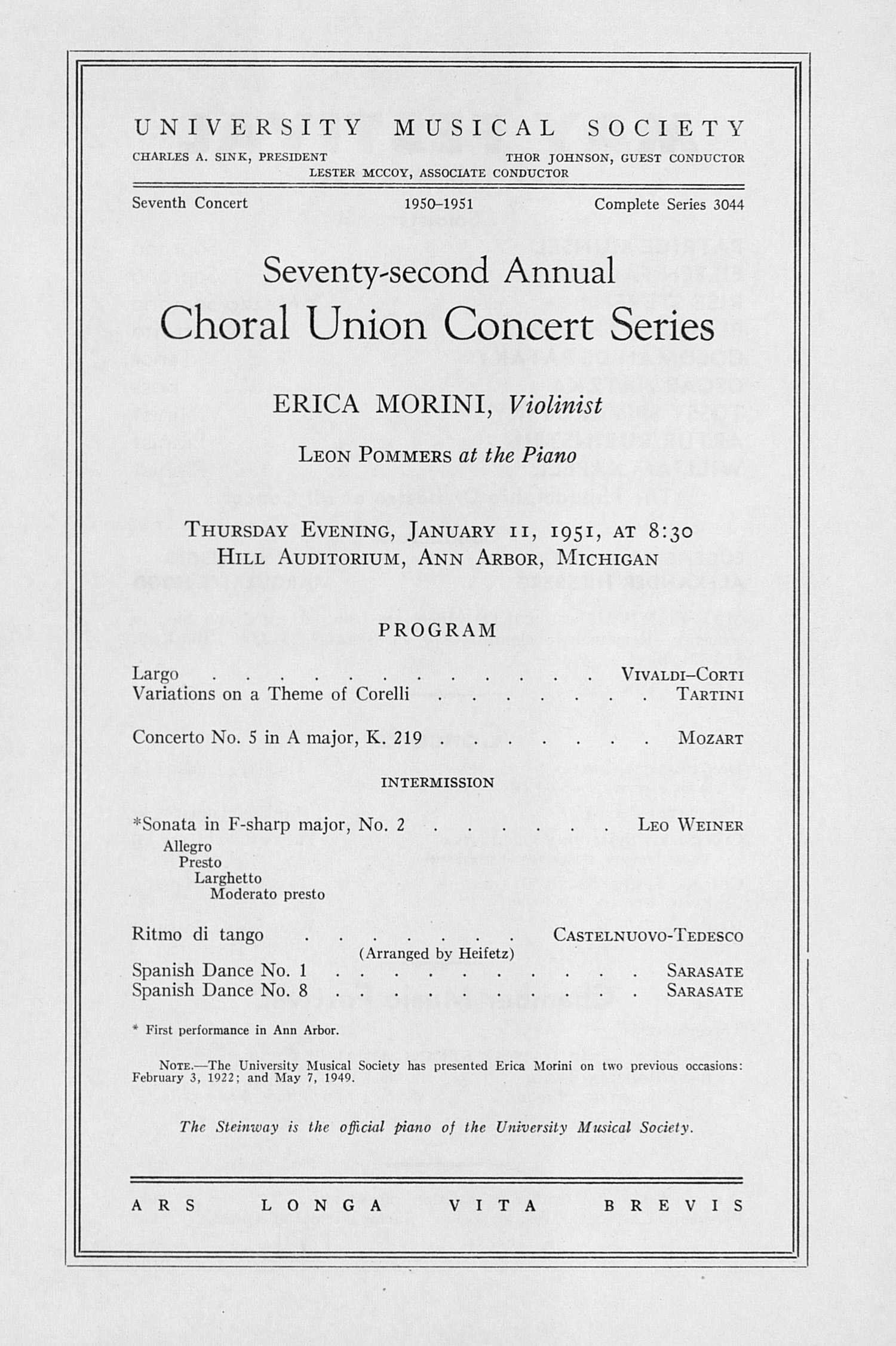 UMS Concert Program, January 11, 1951: Seventy-second Annual Choral Union Concert Series -- Erica Morini image