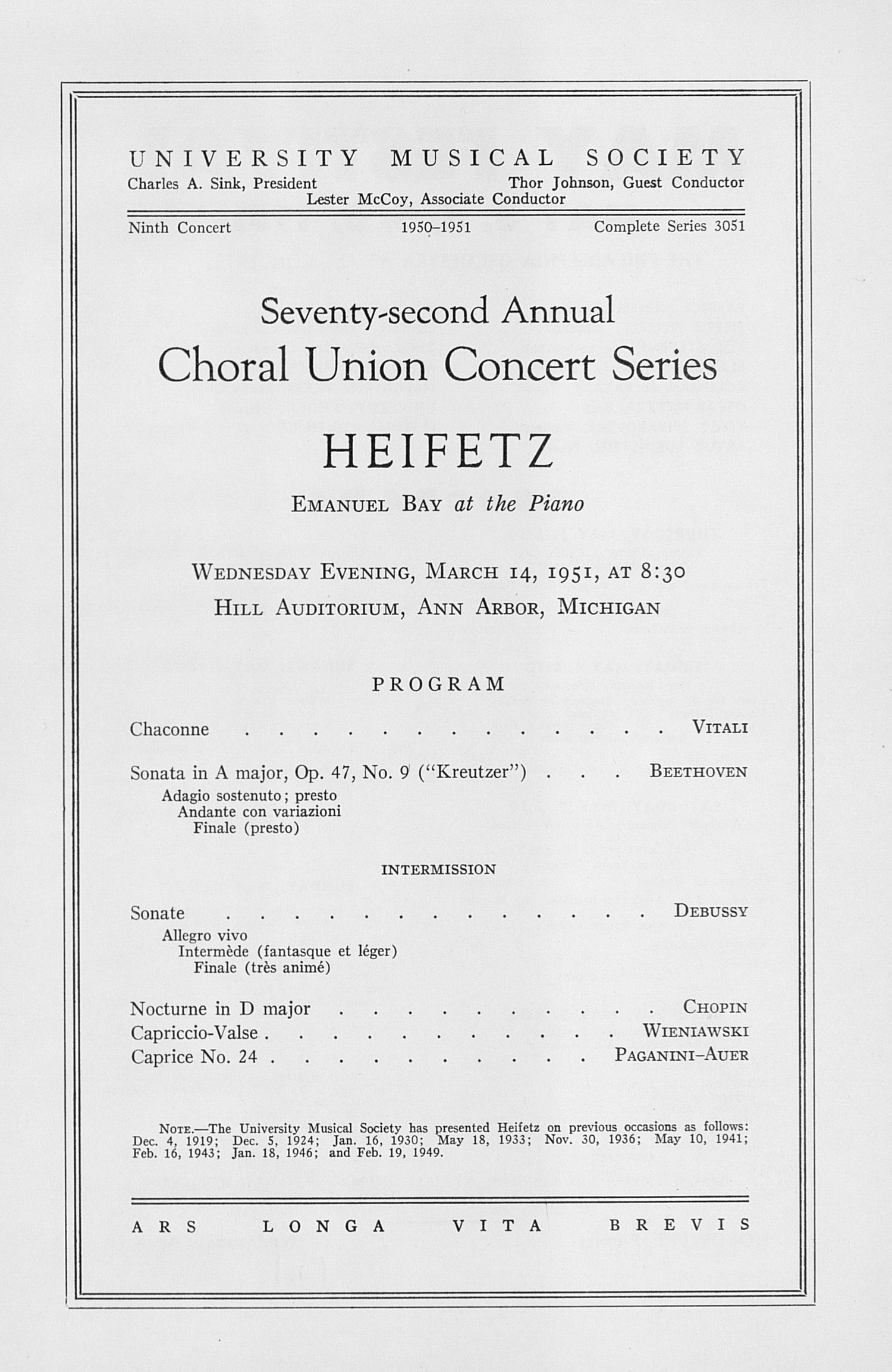 UMS Concert Program, March 14, 1951: Seventy-second Annual Choral Union Concert Series -- Heifetz image