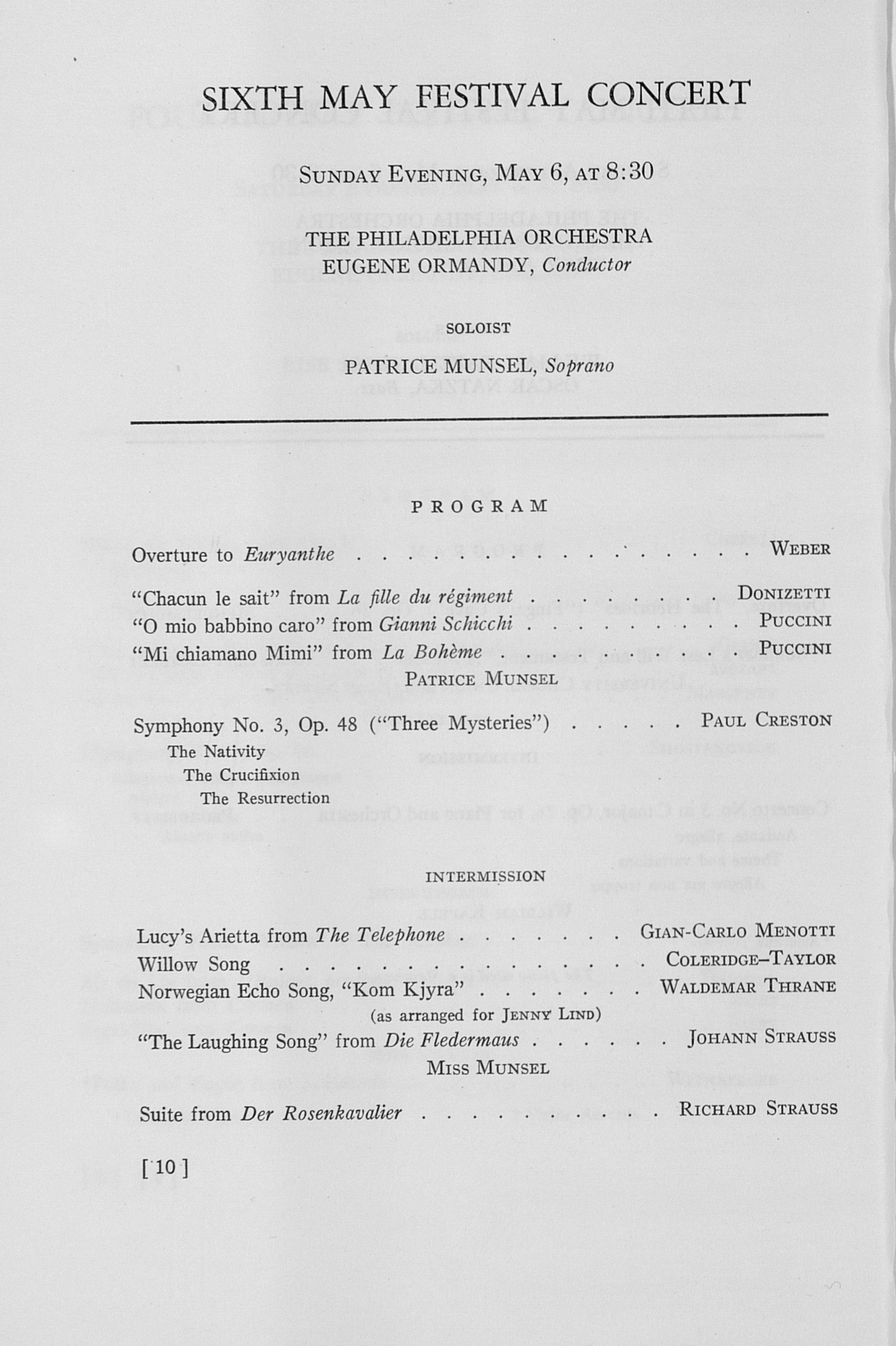 UMS Concert Program, May 3, 4, 5, 6, 1951: The Fifty-eighth Annual May Festival -- Glenn D. Mcgeoch image