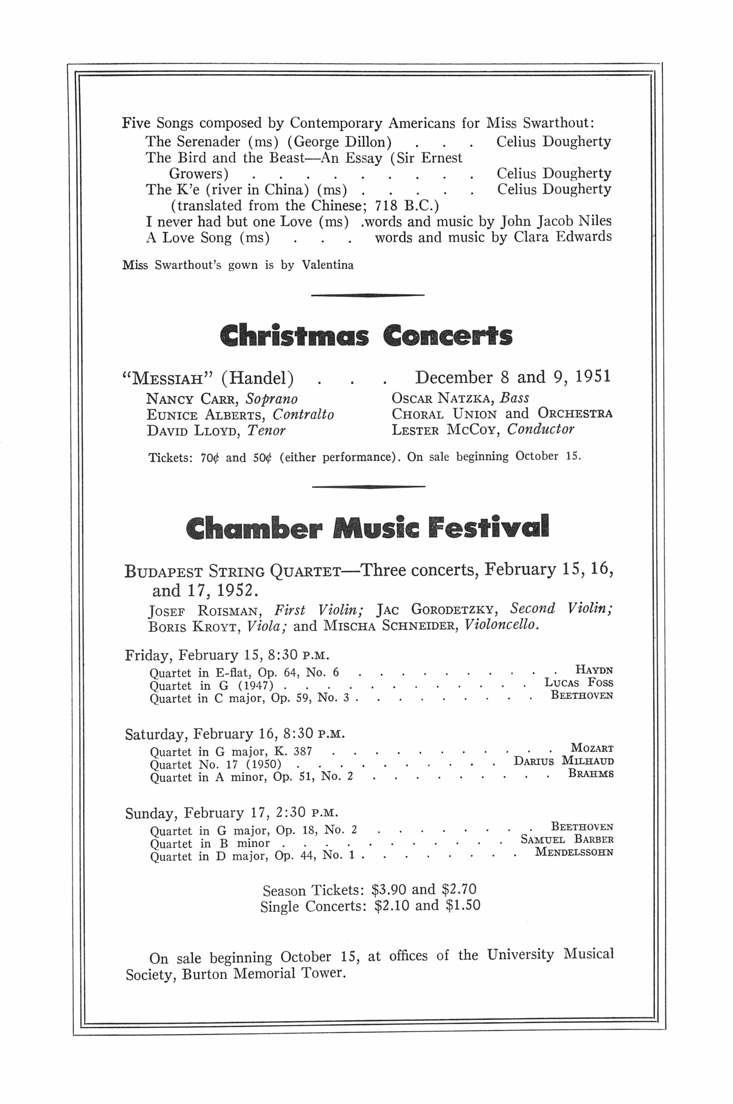 UMS Concert Program, October 9, 1951: Sixth Annual Extra Concert Series -- Gladys Swarthout image