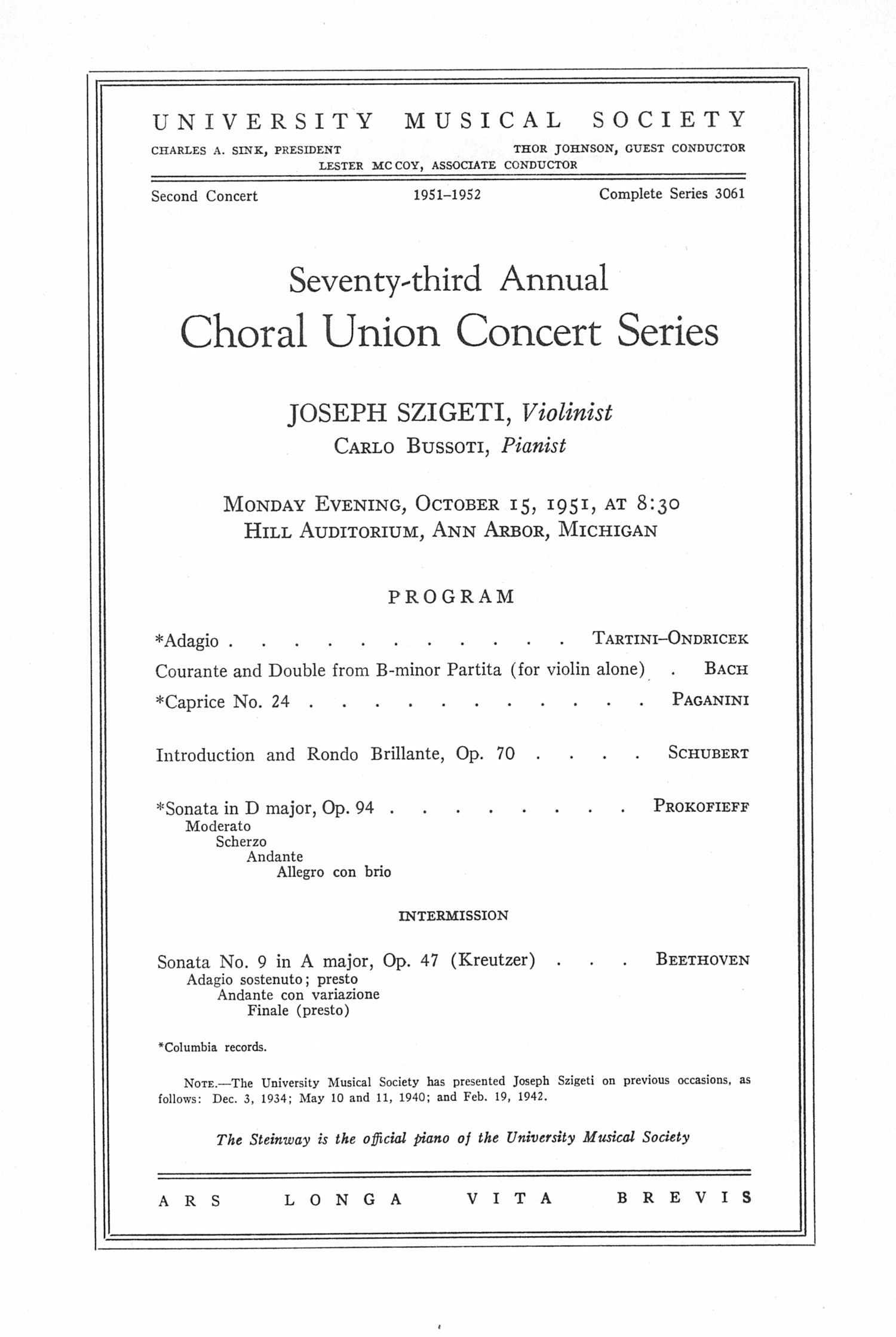 UMS Concert Program, October 15, 1951: Seventy-third Annual Choral Union Concert Series -- Joseph Szigeti image