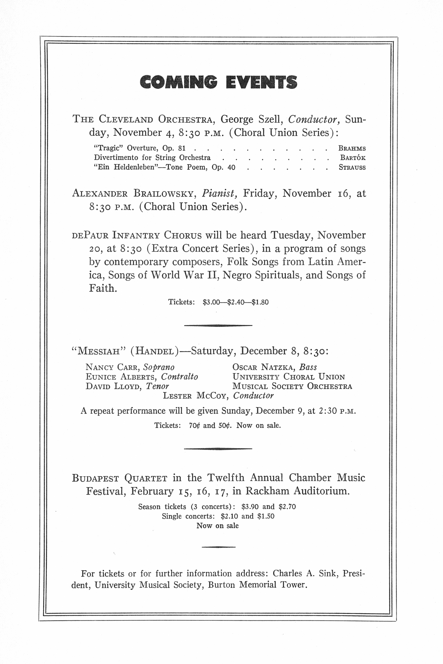 UMS Concert Program, October 22, 1951: Sixth Annual Extra Concert Series -- Boston Symphony Orchestra image