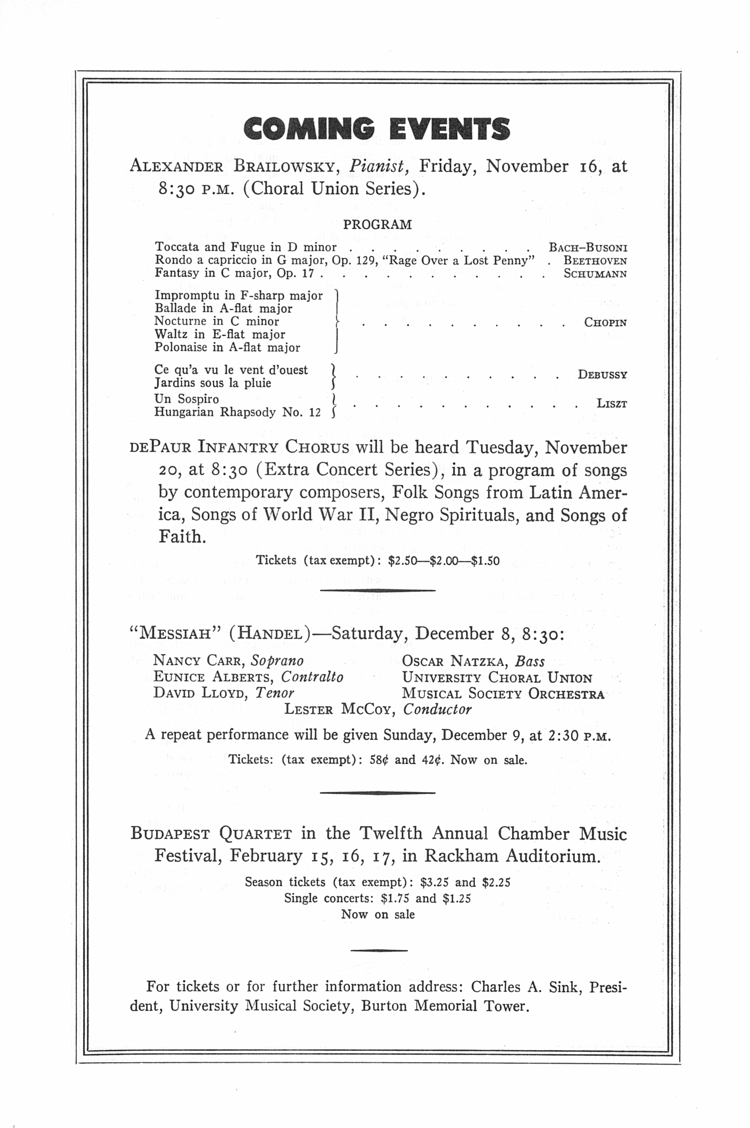 UMS Concert Program, November 4, 1951: Seventy-third Annual Choral Union Concert Series -- The Cleveland Orchestra image