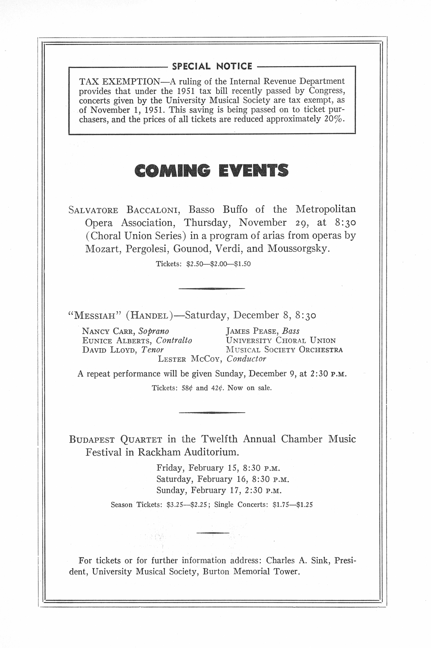UMS Concert Program, November 20, 1951: Sixth Annual Extra Concert Series -- Leonard Depaur image