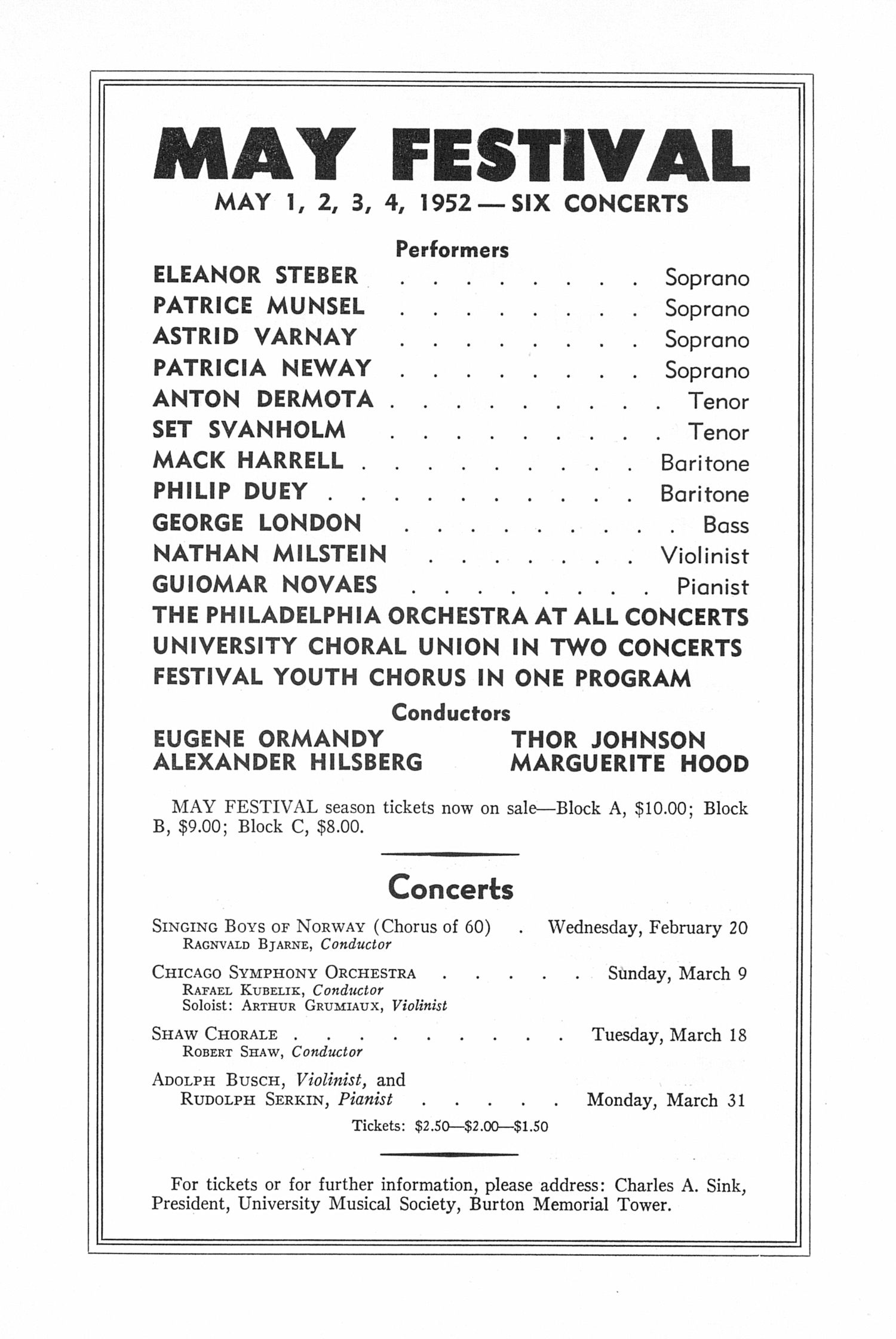 UMS Concert Program, February 15, 1952: Twelfth Annual Chamber Music Festival -- Budapest String Quartet image