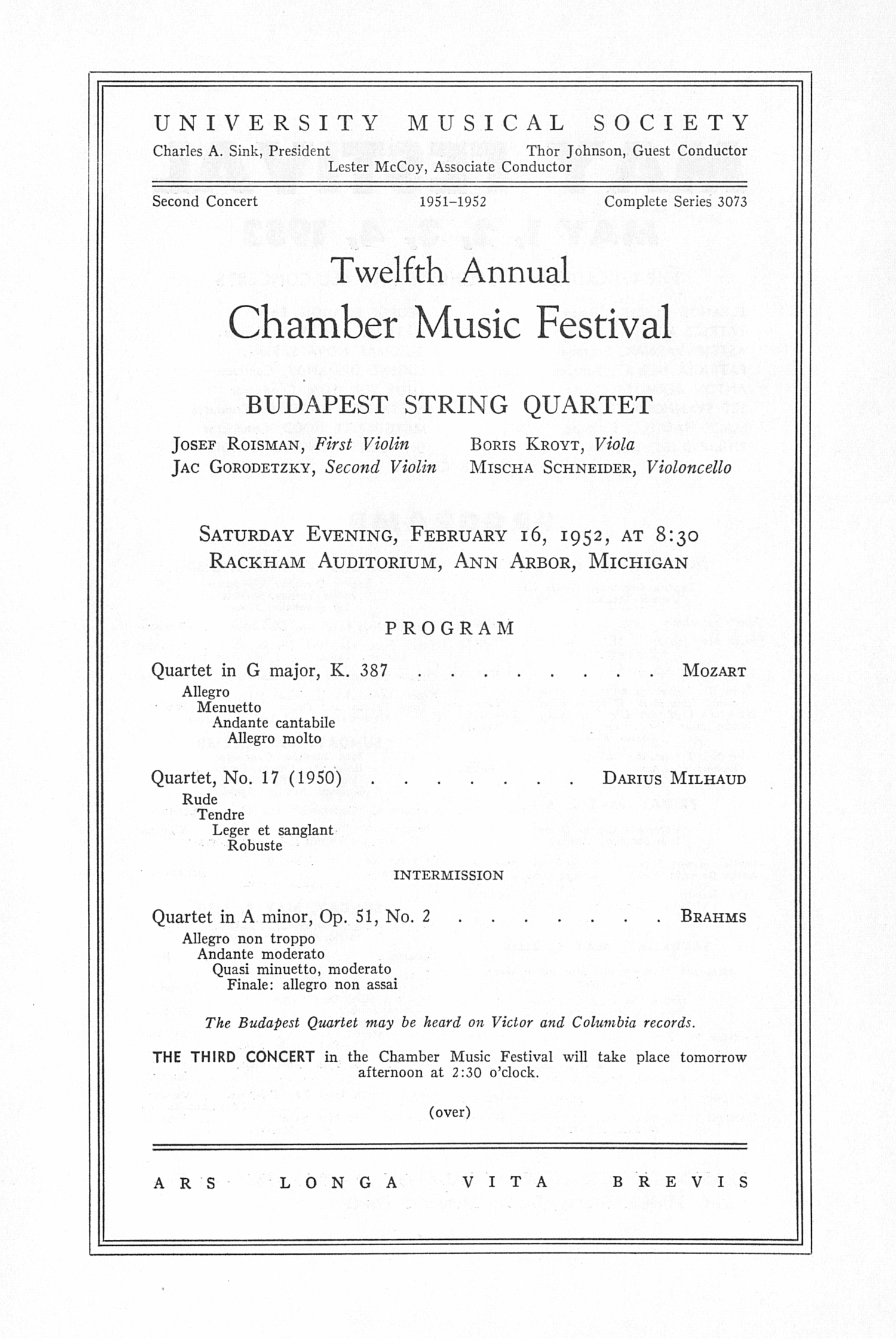 UMS Concert Program, February 16, 1952: Twelfth Annual Chamber Music Festival -- Budapest String Quartet image