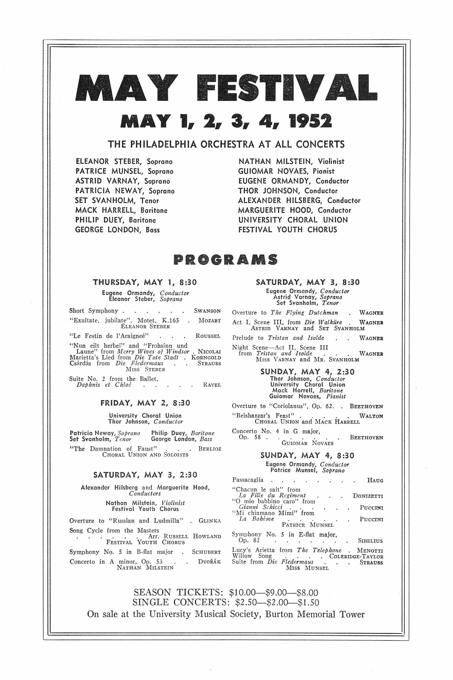 UMS Concert Program, March 9, 1952: Sixth Annual Extra Concert Series -- Chicago Symphony Orchestra image