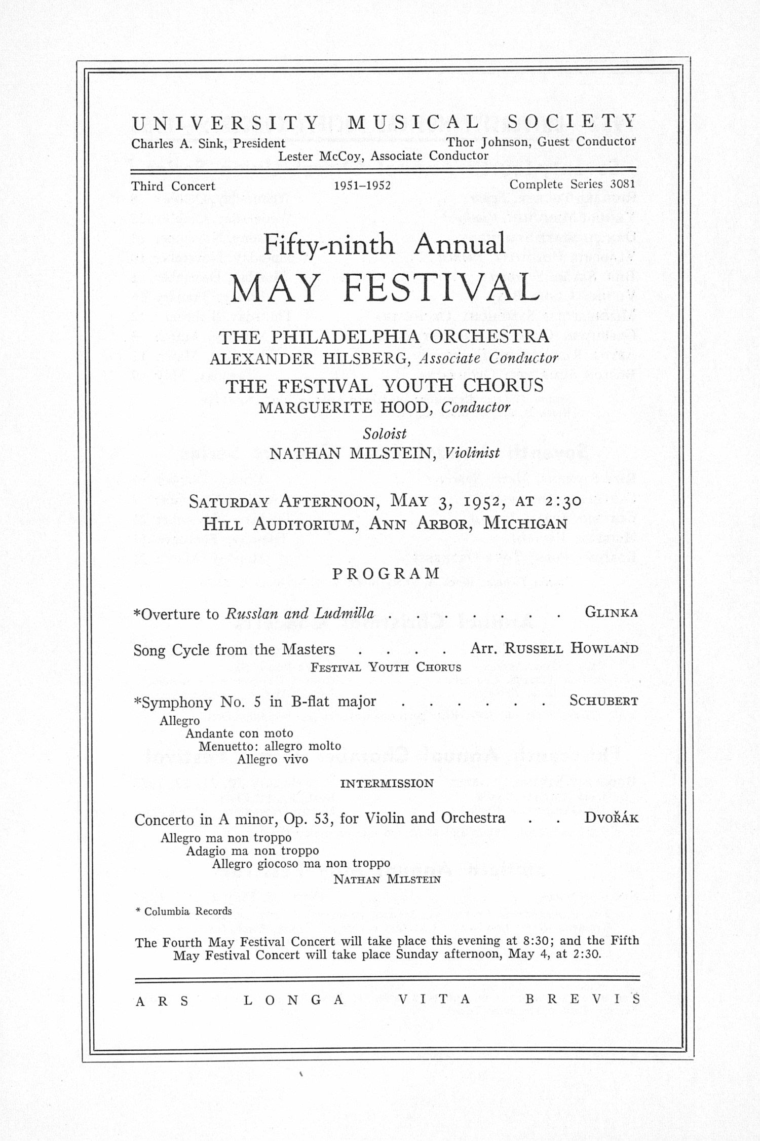 UMS Concert Program, May 3, 1952: Fifty-ninth Annual May Festival -- The Philadelphia Orchestra image