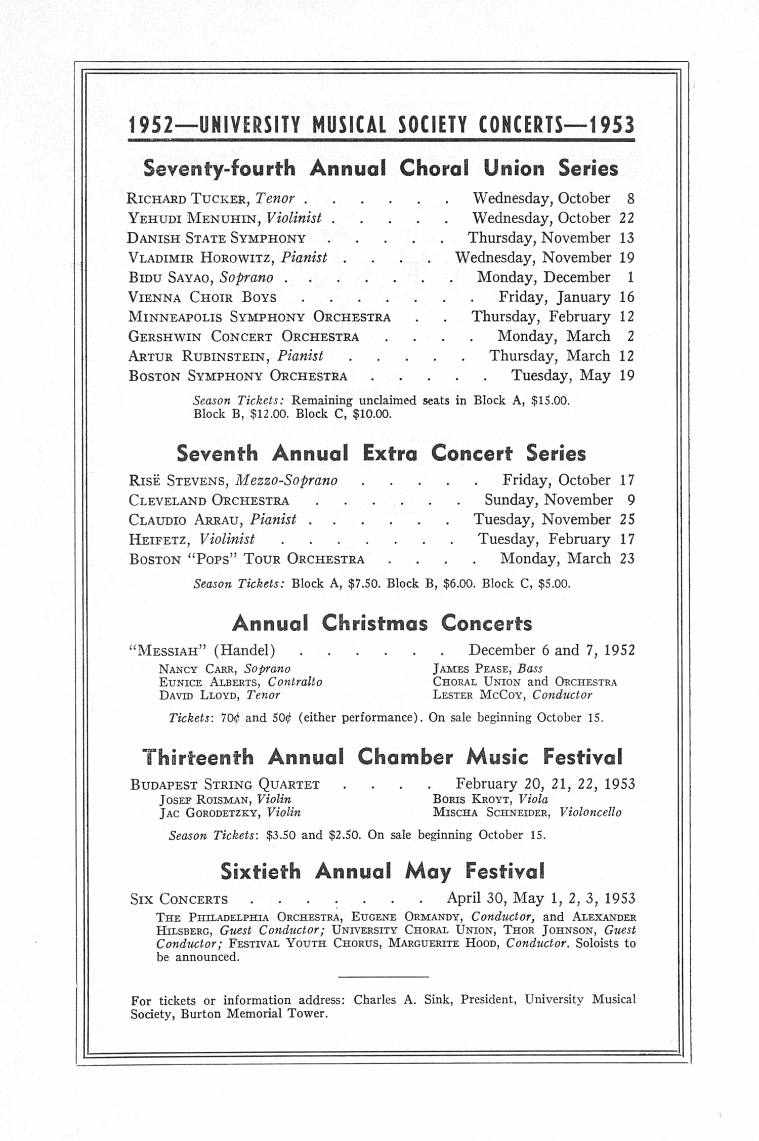 UMS Concert Program, May 4, 1952: Fifty-ninth Annual May Festival -- The Philadelphia Orchestra image
