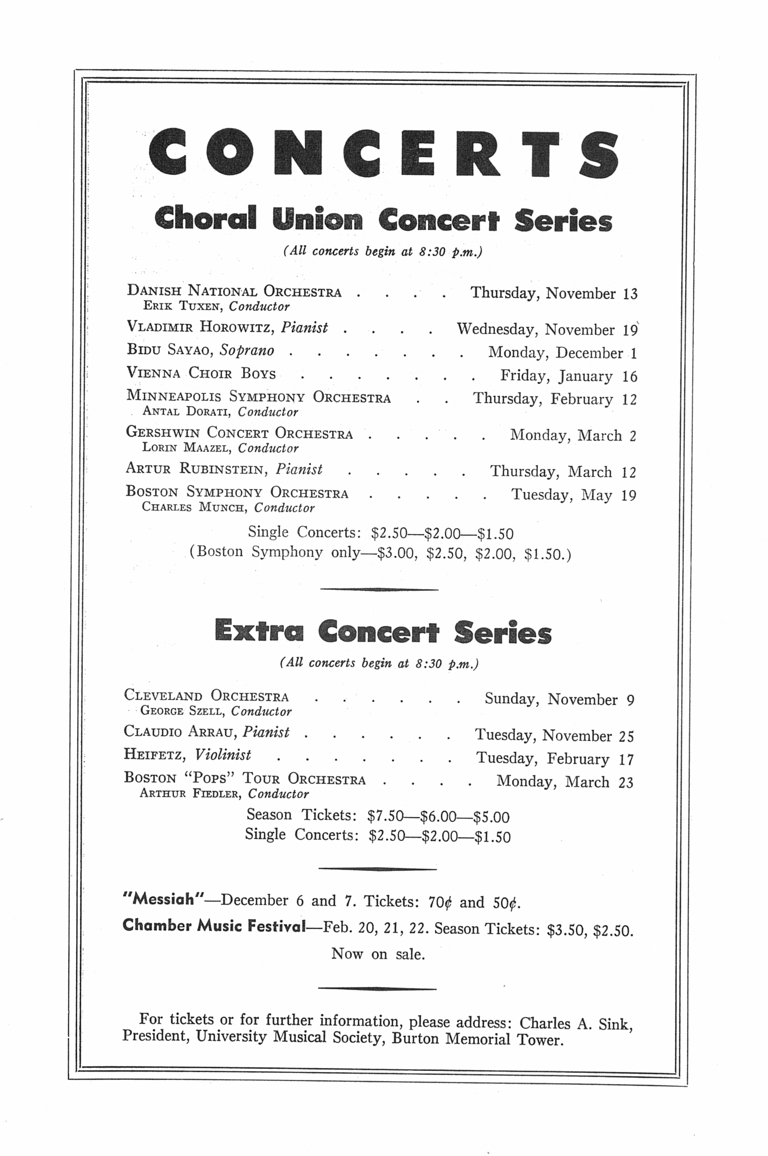 UMS Concert Program, Wednesday Evening, October 22, 1952: Seventy-fourth Annual Choral Union Concert Series -- Yehudi Menuhin image