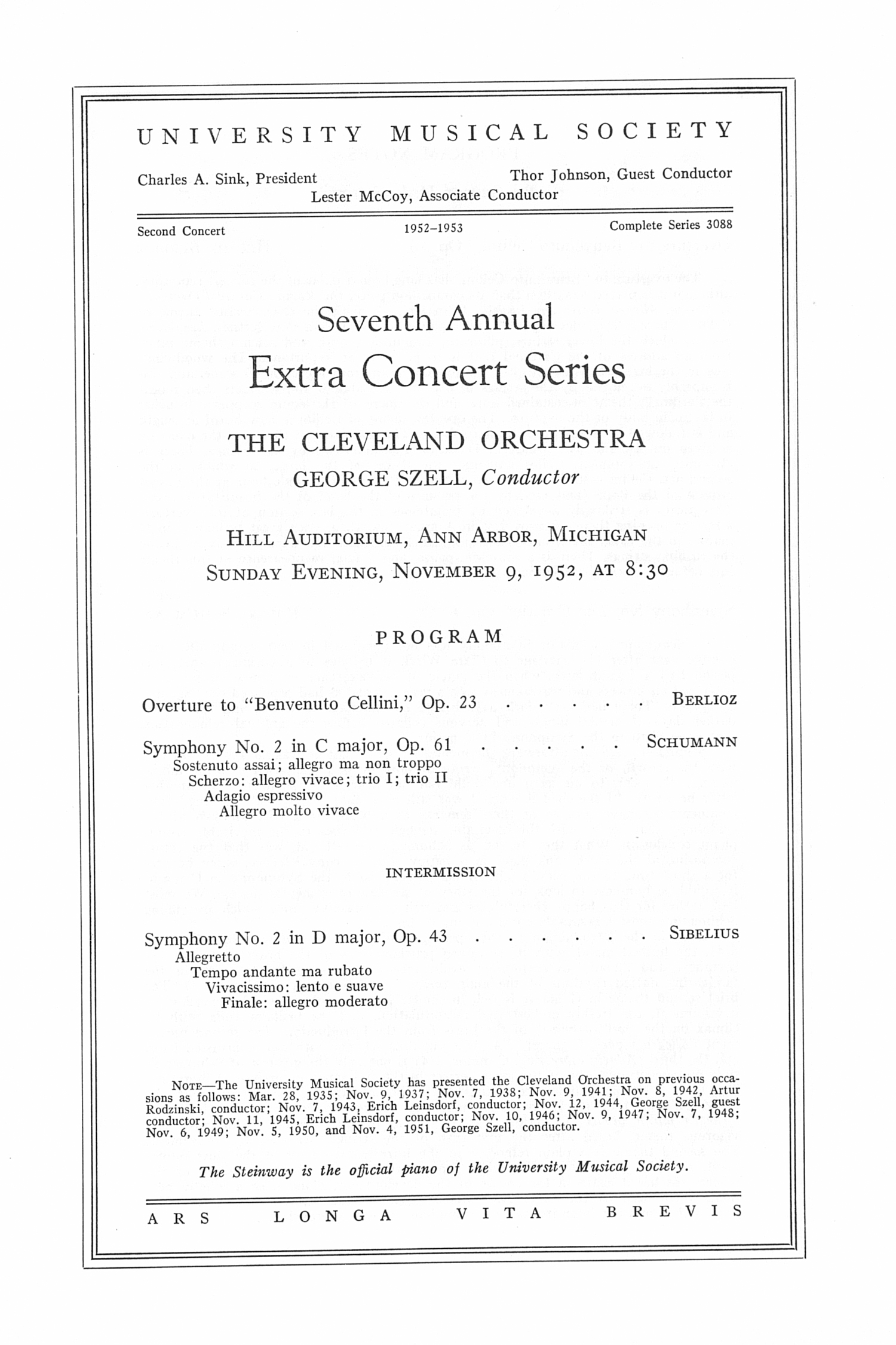 UMS Concert Program, Sunday Evening, November 9, 1952: Seventh Annual Extra Concert Series -- The Cleveland Orchestra image