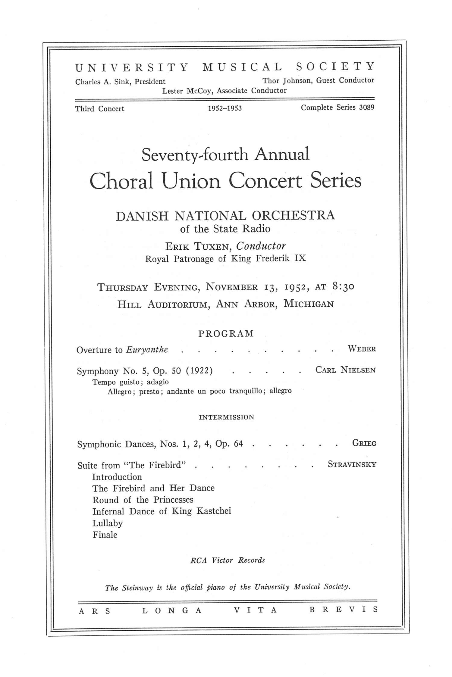 UMS Concert Program, Thursday Evening, November 13, 1952: Seventy-fourth Annual Choral Union Concert Series -- Danish National Orchestra image