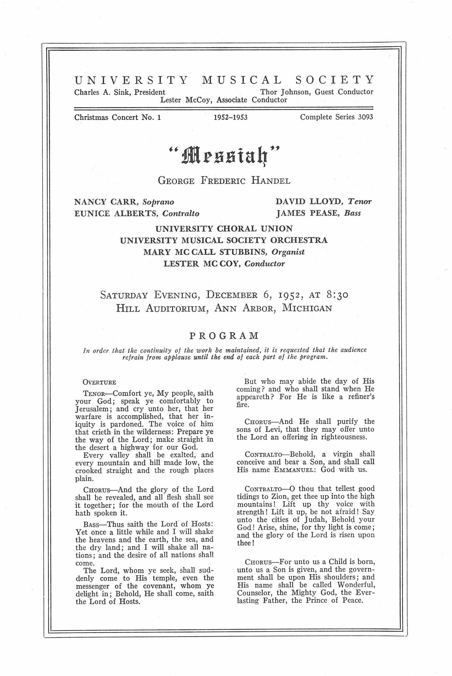 "UMS Concert Program, Saturday Evening, December 6, 1952: ""messiah"" -- George Frederic Handel image"
