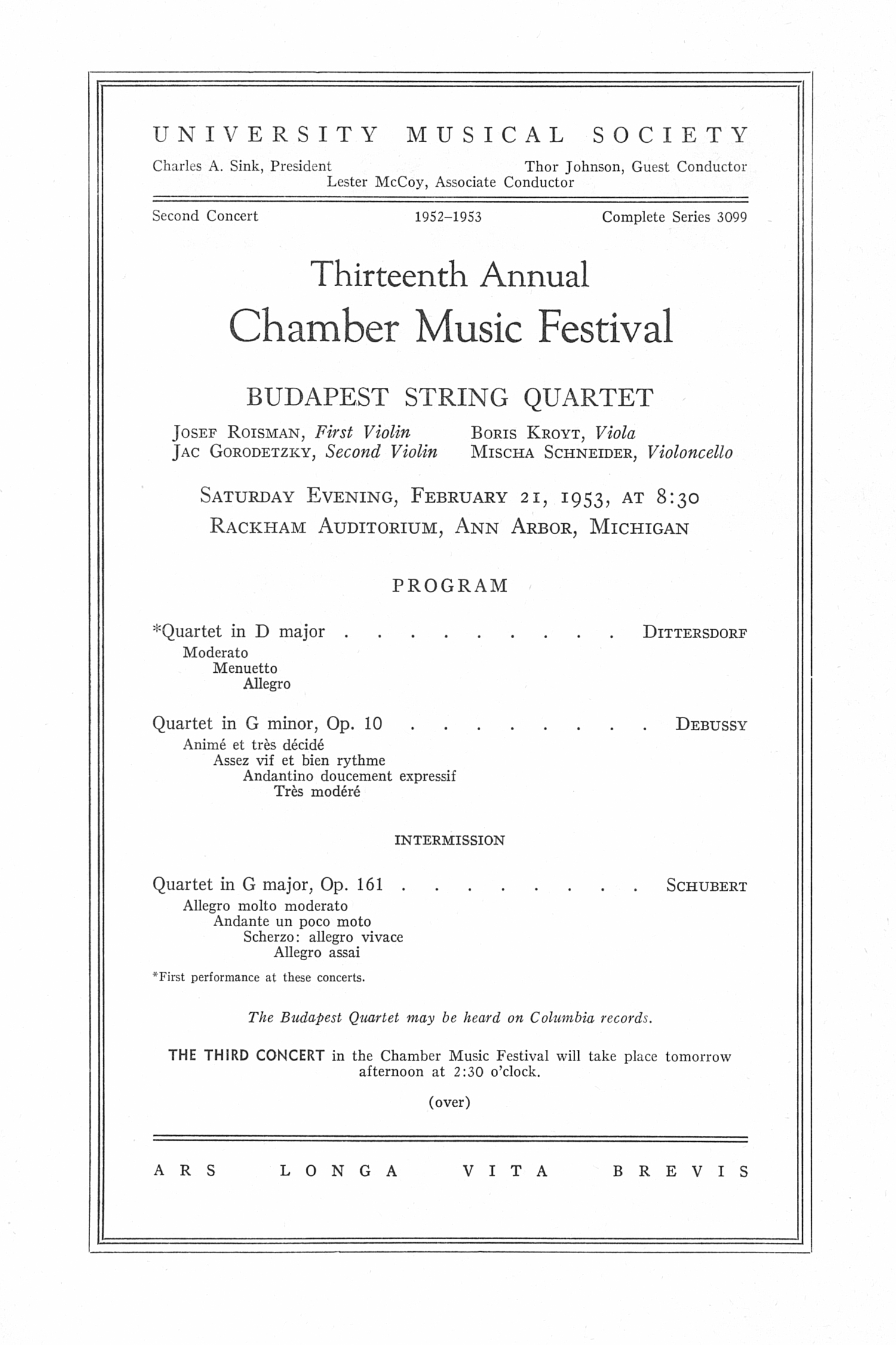 UMS Concert Program, February 21, 1953: Thirteenth Annual Chamber Music Festival -- Budapest String Quartet image